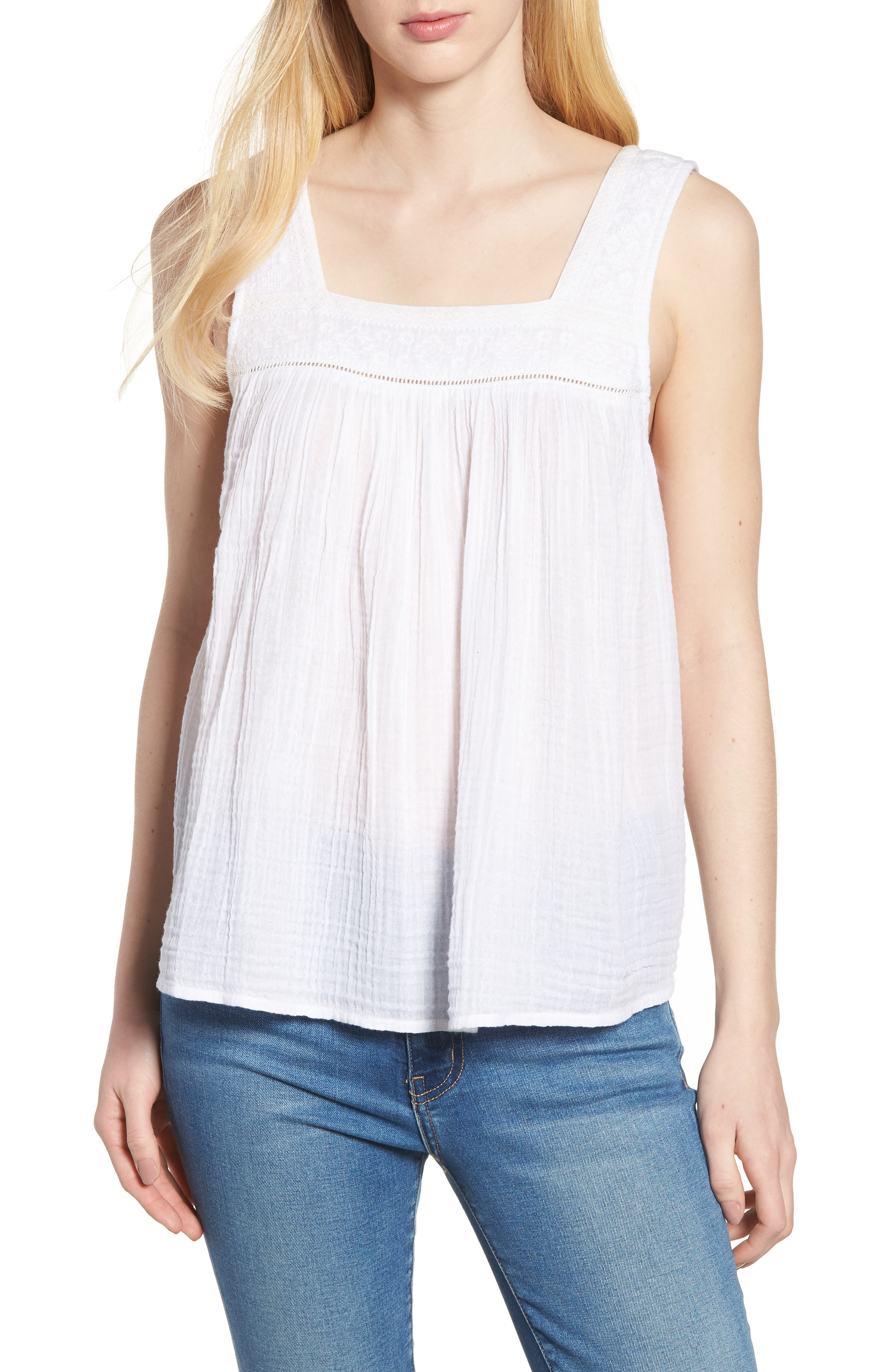 Embroidered Neck Swing Tank,                             Main thumbnail 3, color,