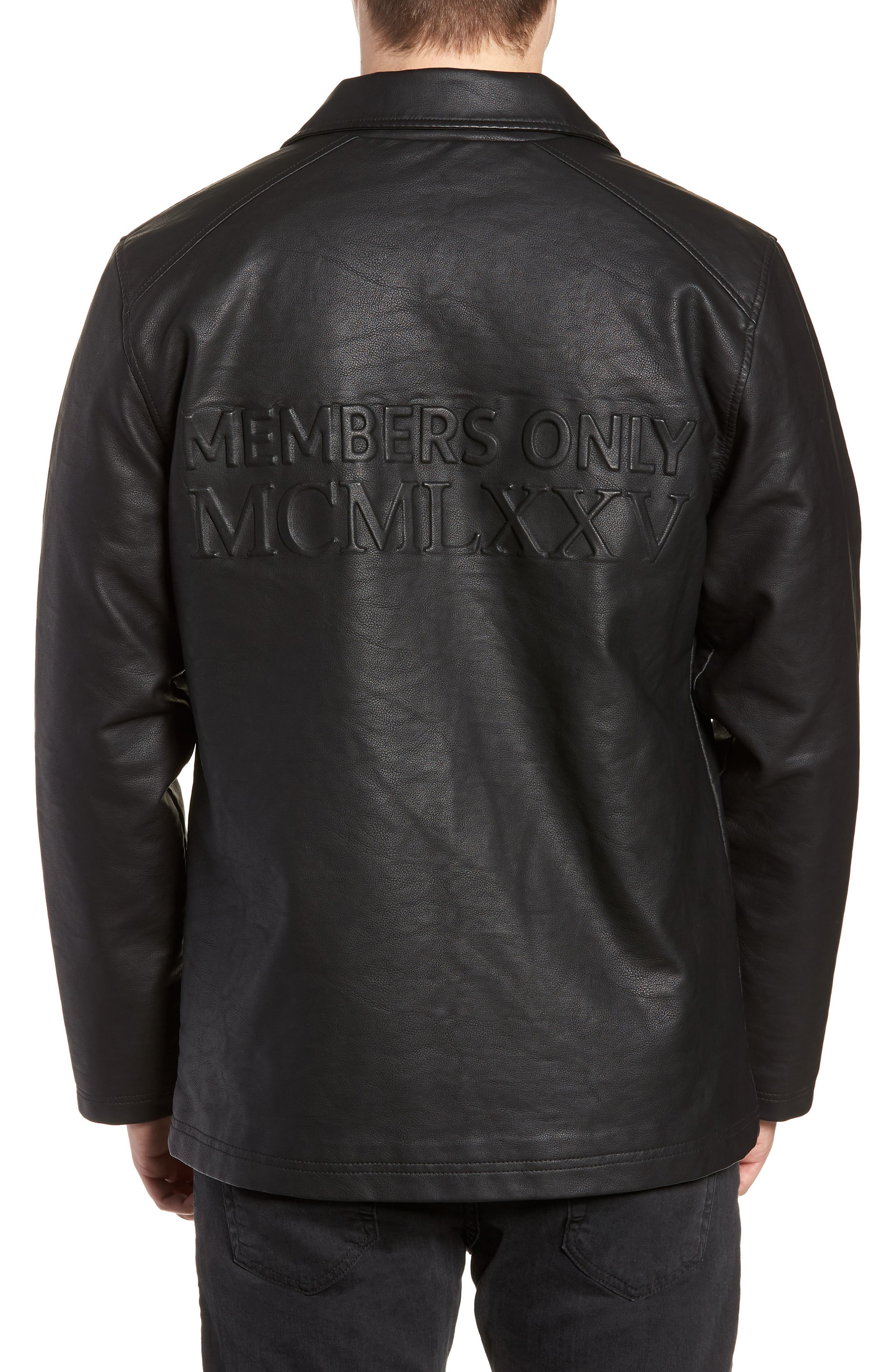 Logo Embossed Faux Leather Jacket,                             Alternate thumbnail 2, color,                             001