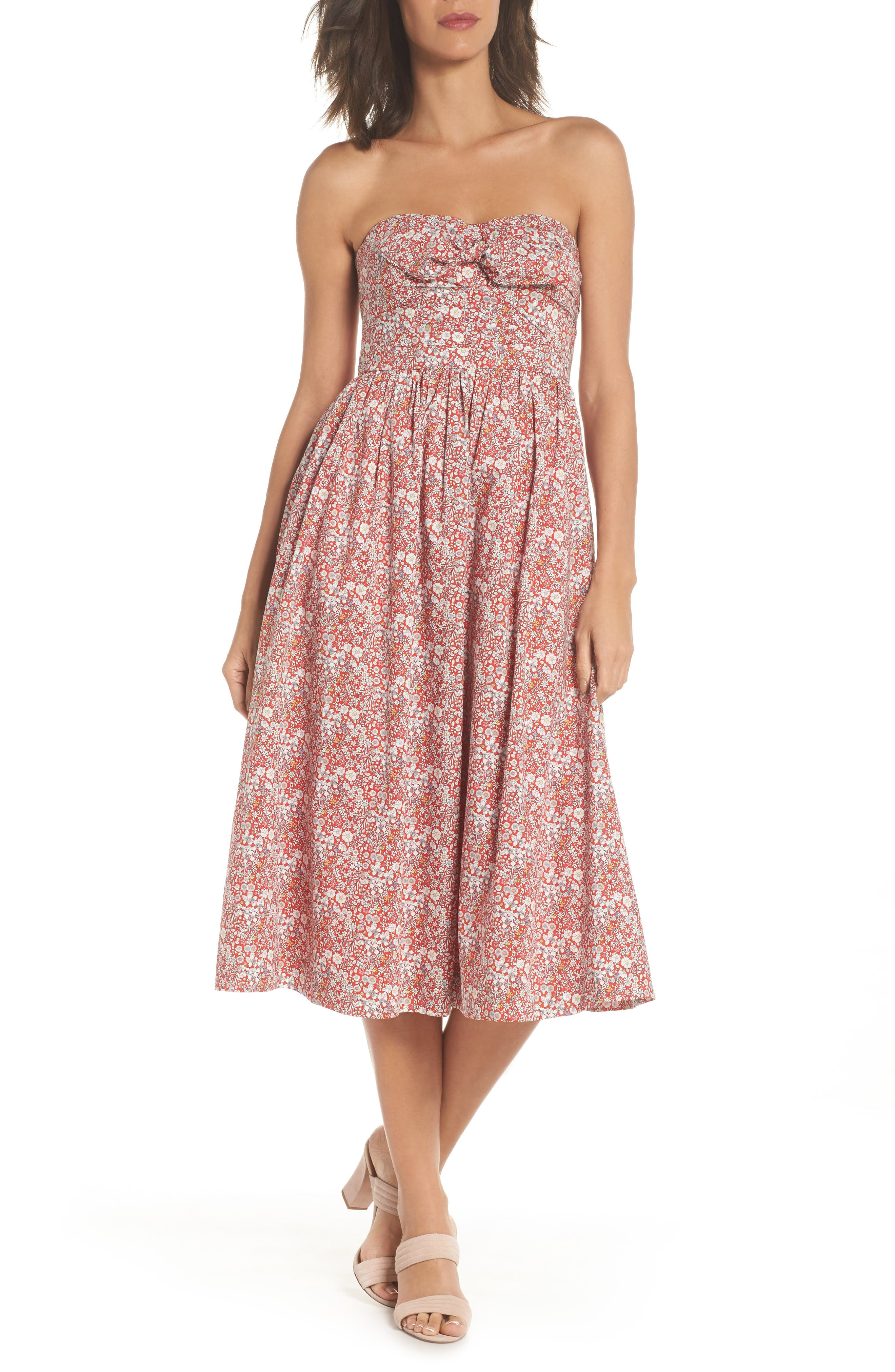 Liberty Tie Front Strapless Dress,                             Alternate thumbnail 6, color,                             600