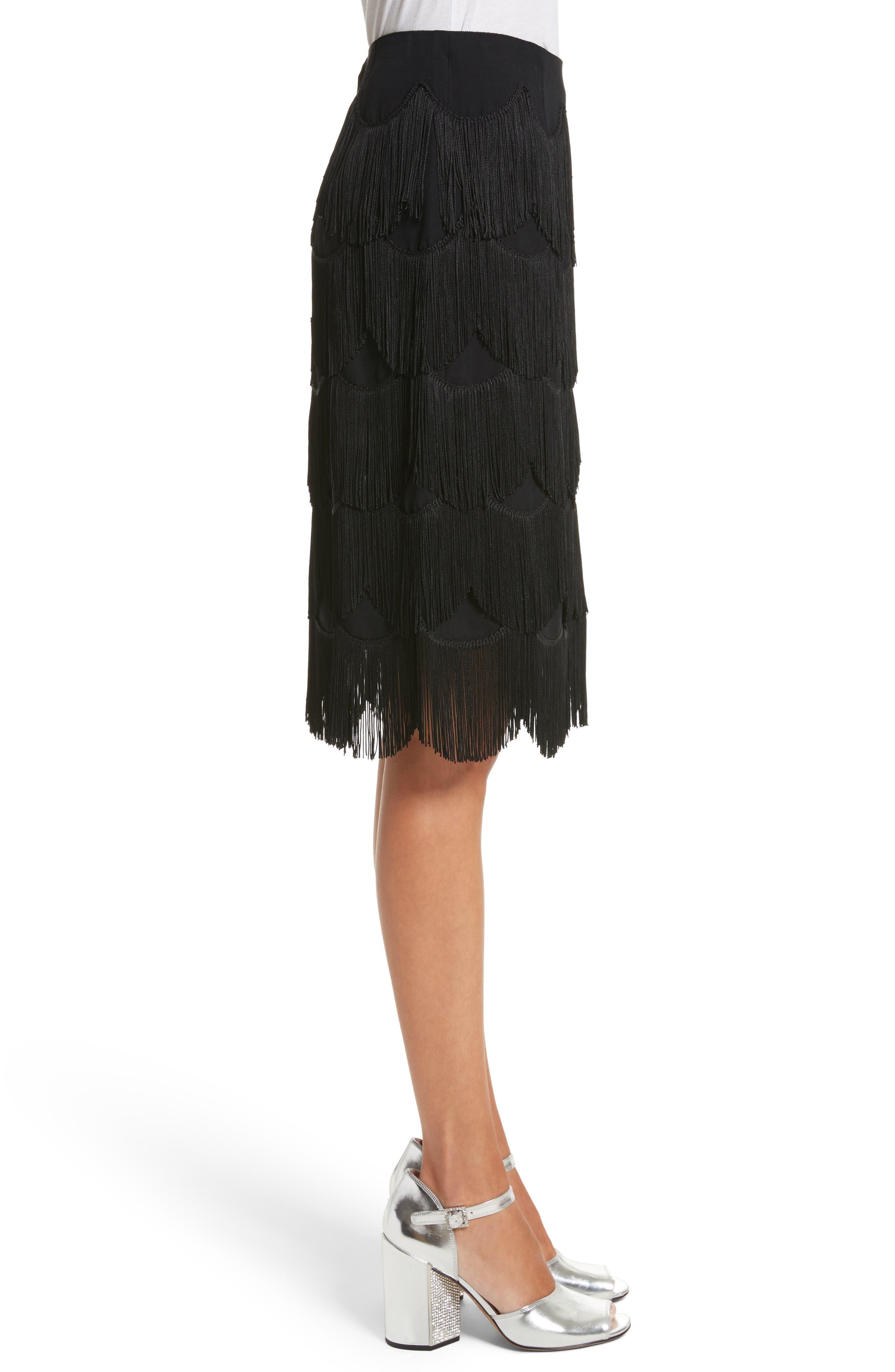 Fringe Skirt,                             Alternate thumbnail 3, color,                             001