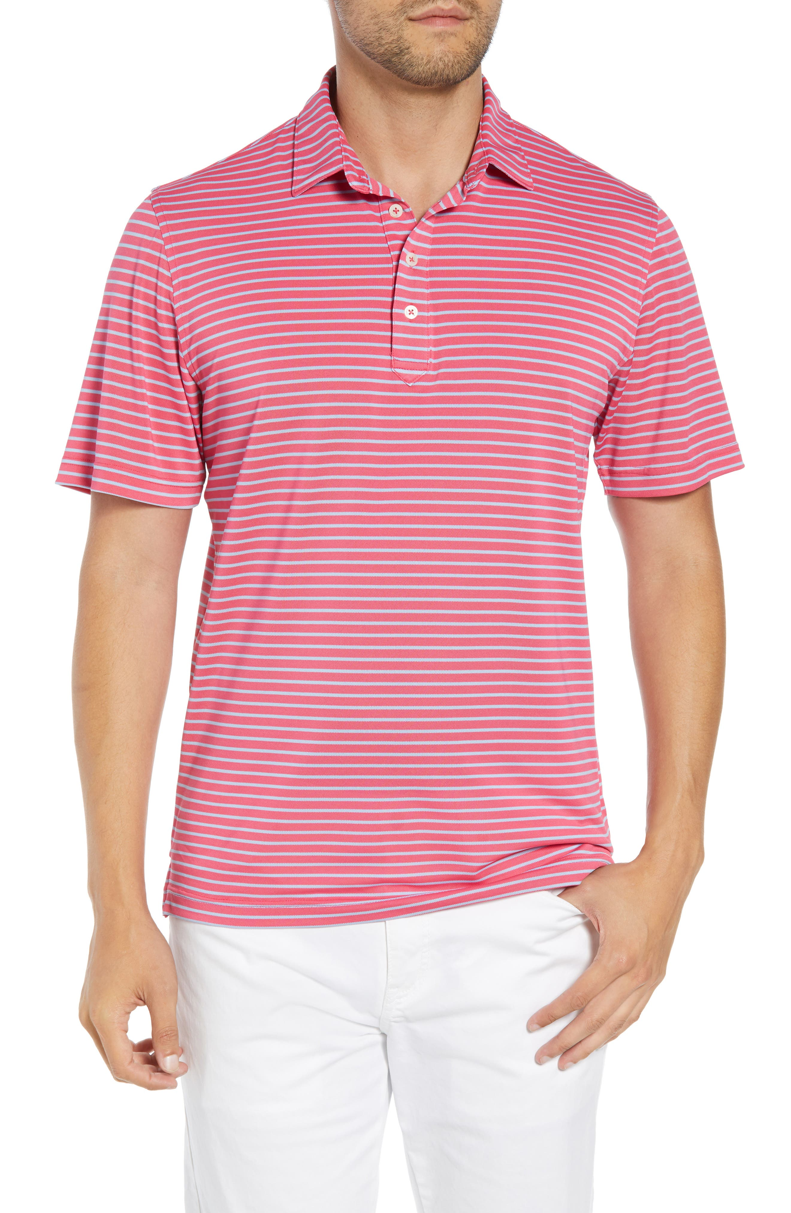 JOHNNIE-O Myers Regular Fit Stripe Prep-Formance Polo in Primrose