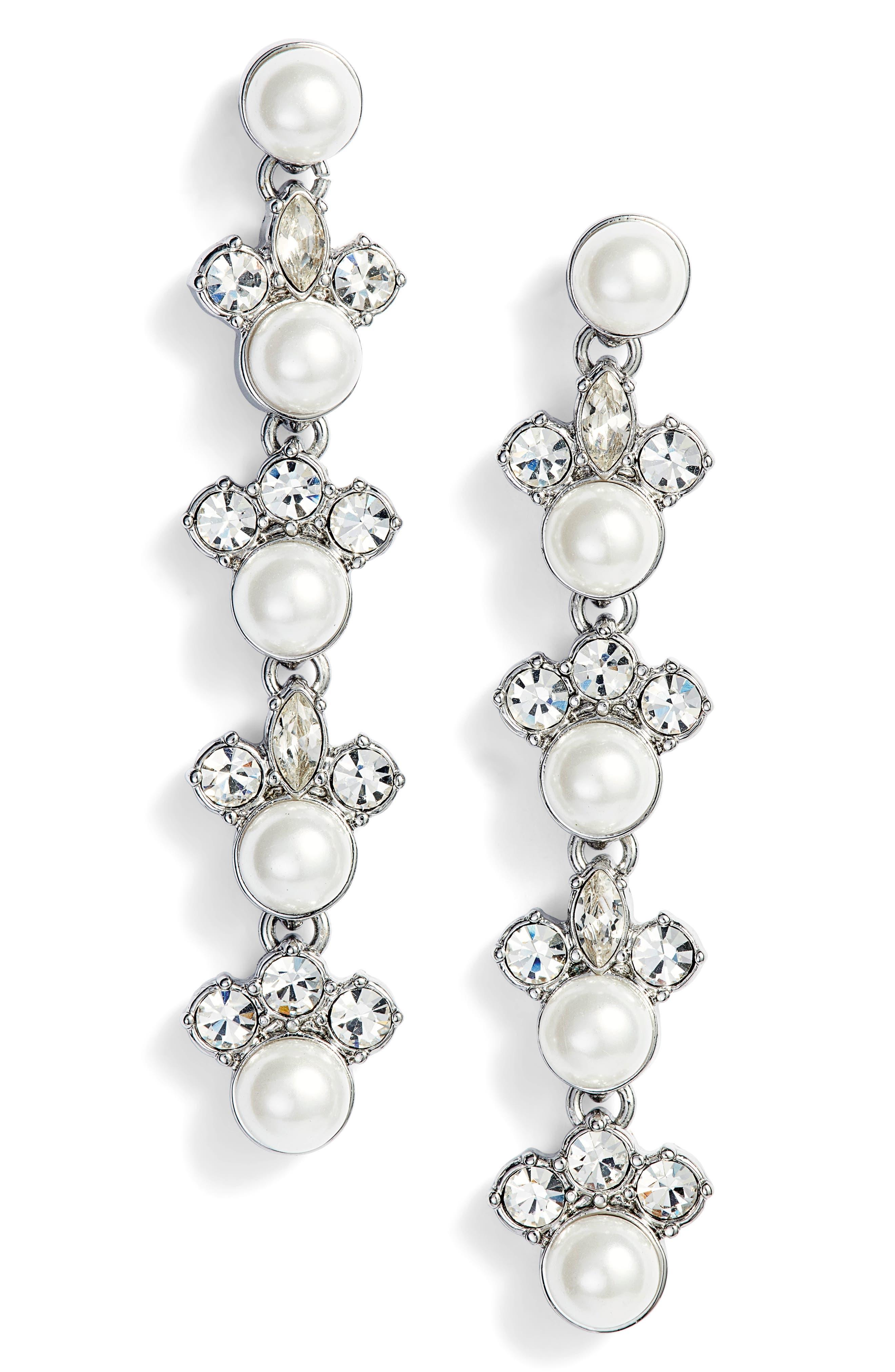 Linear Imitation Pearl Drop Earrings,                         Main,                         color, 040