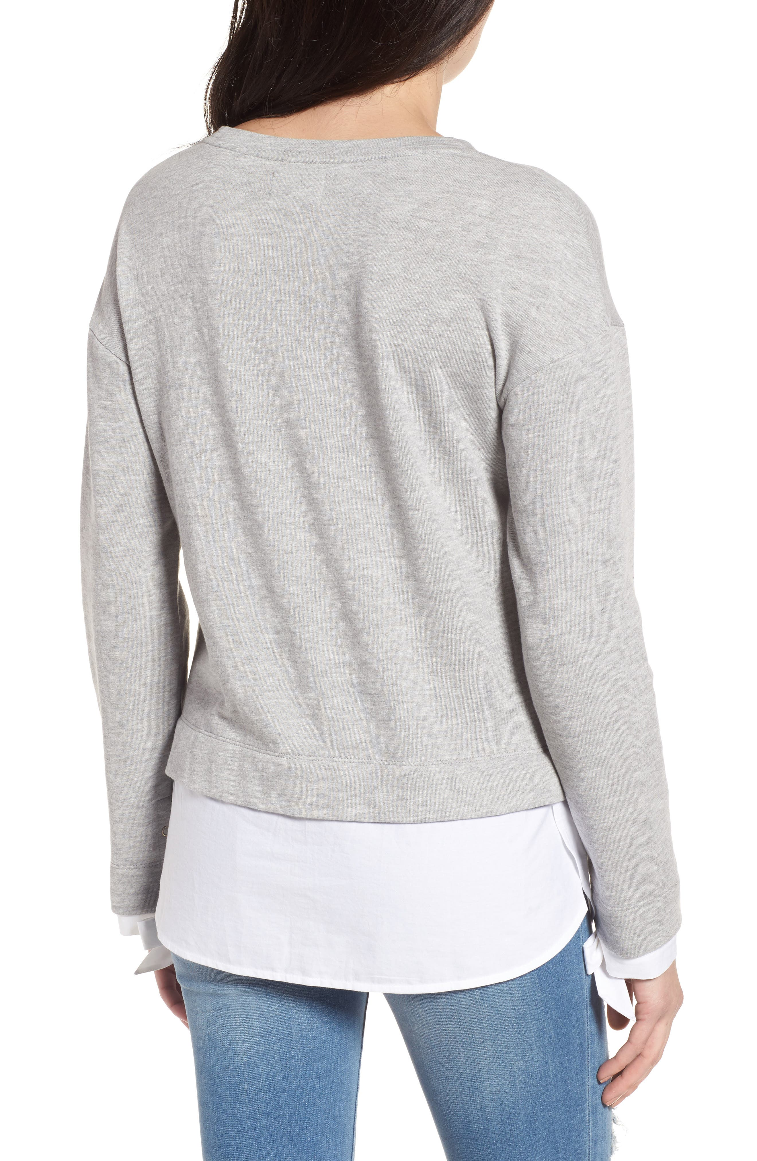 Woven Trim Layered Sweatshirt,                             Alternate thumbnail 2, color,                             030