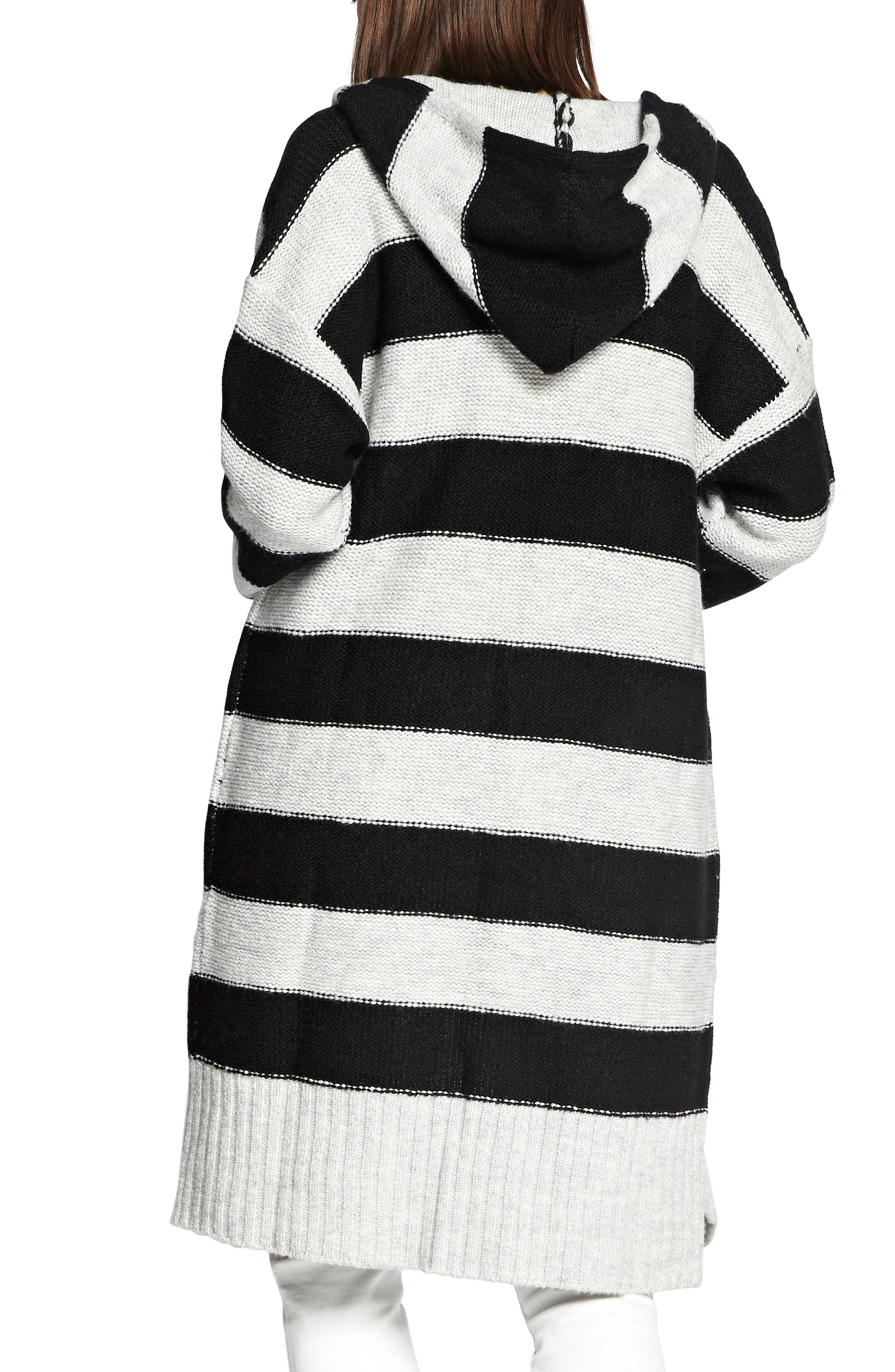 SANCTUARY,                             Rugby Long Hooded Cardigan,                             Alternate thumbnail 2, color,                             HEATHER STERLING/ BLACK