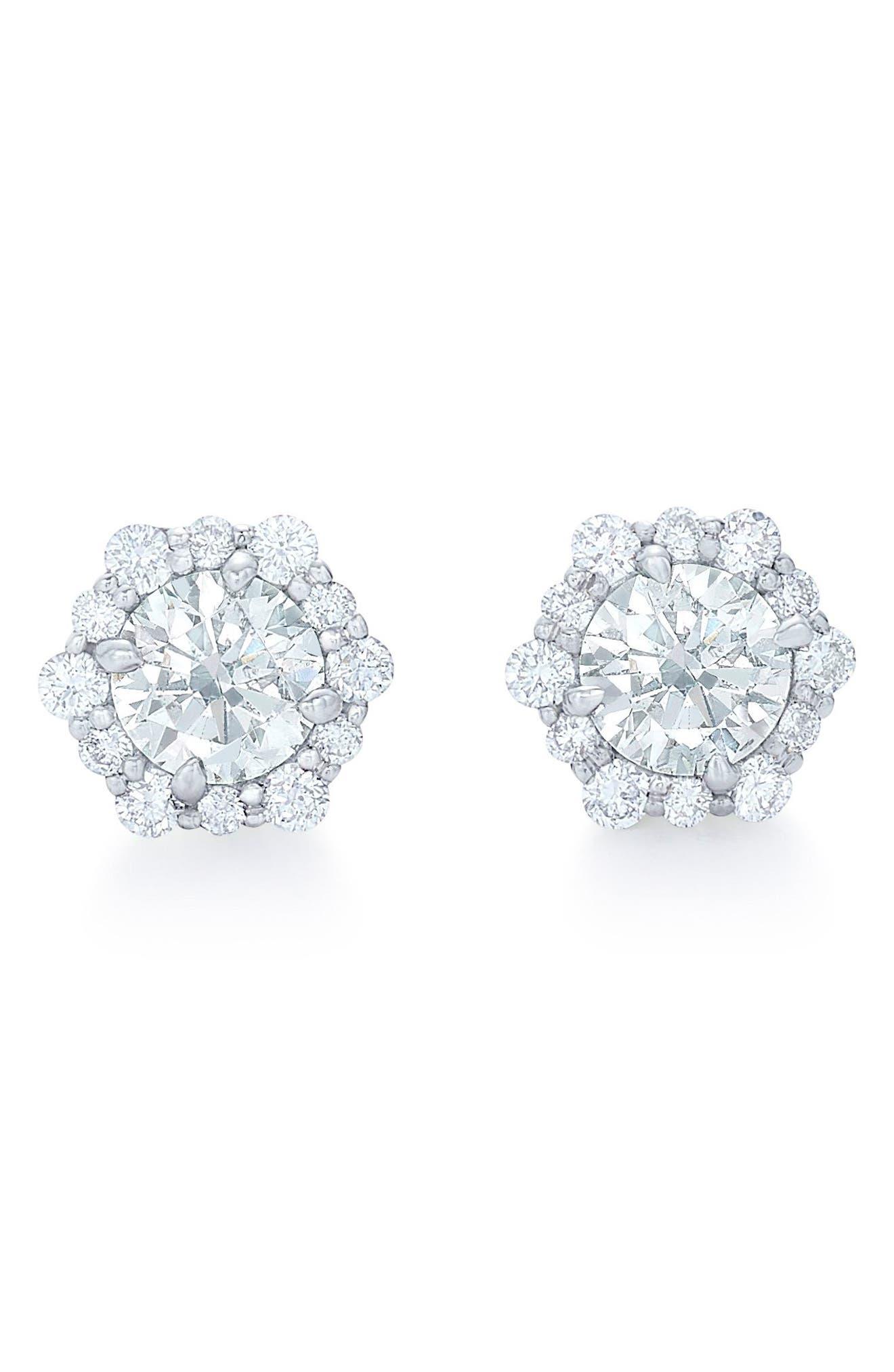 KWIAT,                             Diamond Halo Stud Earrings,                             Main thumbnail 1, color,                             WHITE GOLD