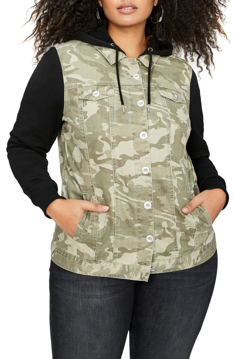 d4ea7dbc59f ADDITION ELLE LOVE AND LEGEND Hooded Camo Jacket with Knit Sleeves ...