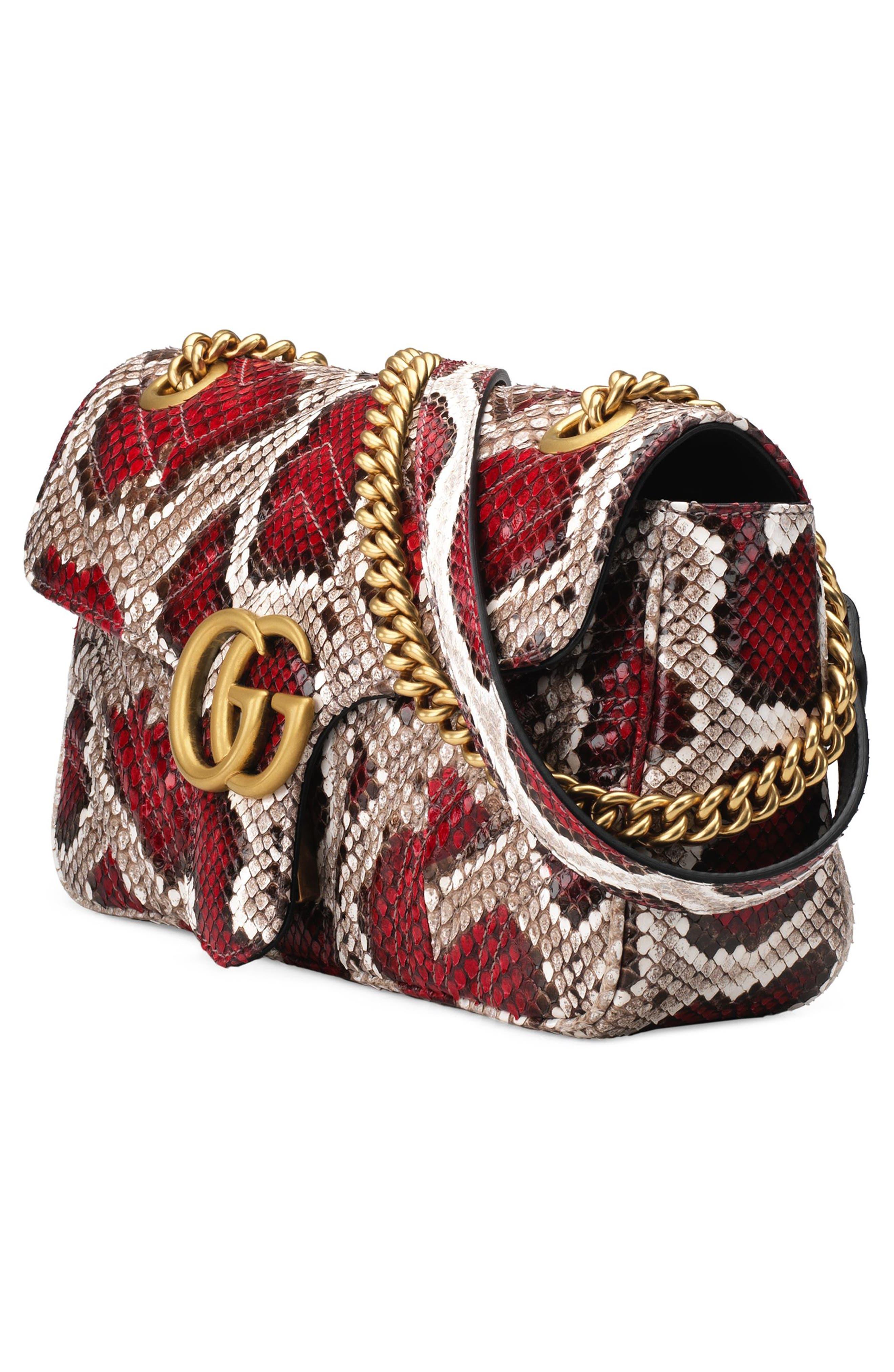 Marmont 2.0 Genuine Python Shoulder Bag,                             Alternate thumbnail 4, color,                             ROCCIA ROSSO
