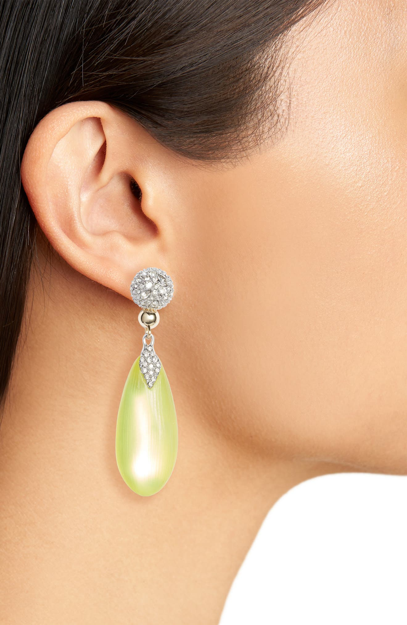Crystal Encrusted Lucite<sup>®</sup> Drop Earrings,                             Alternate thumbnail 2, color,                             045