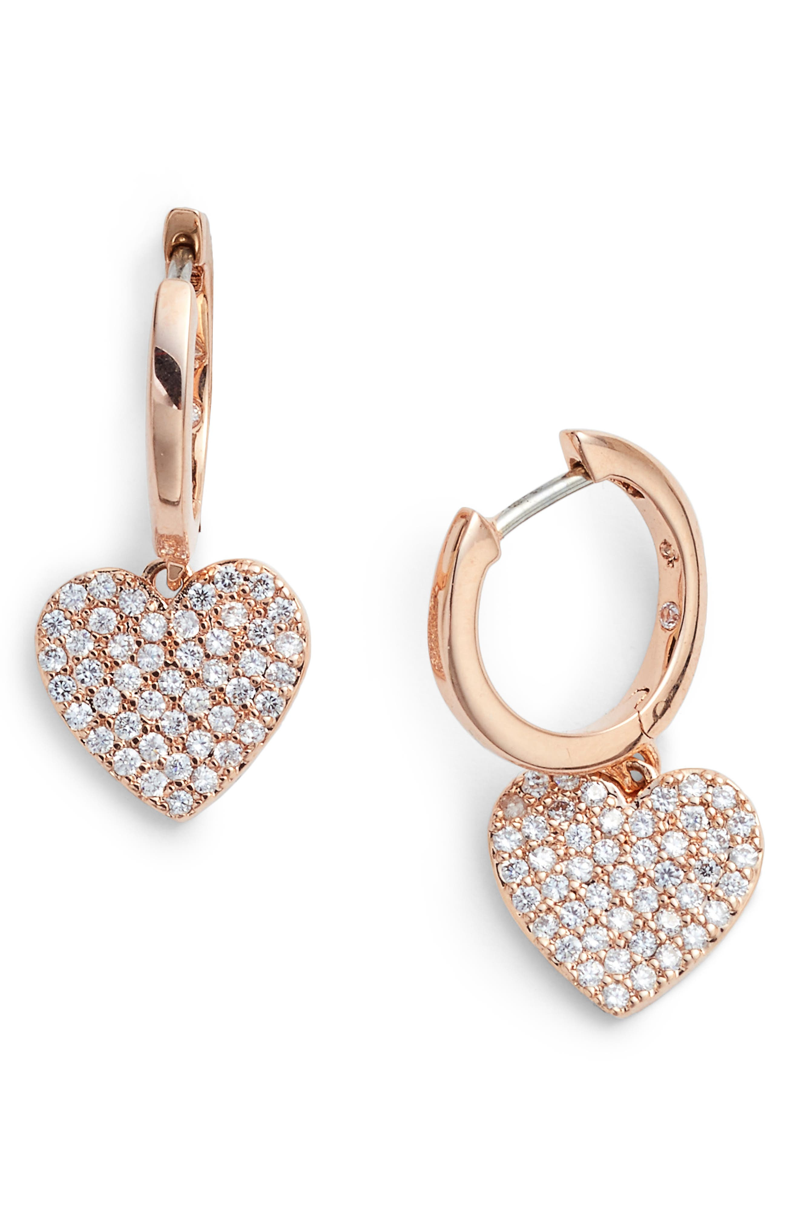 yours truly pave heart drop earrings,                             Main thumbnail 2, color,