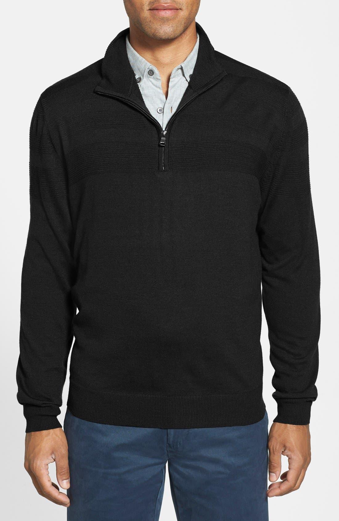'Douglas' Merino Wool Blend Half Zip Sweater,                             Main thumbnail 1, color,                             001