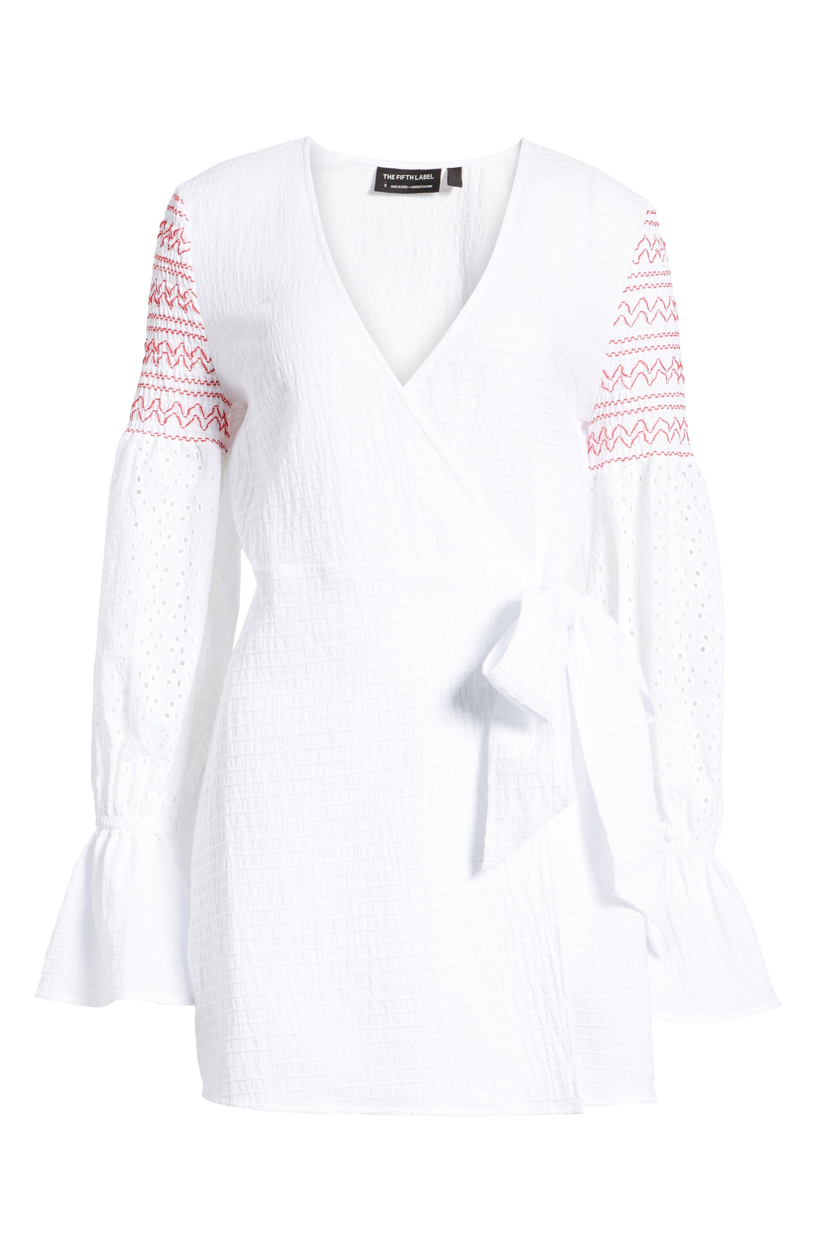 Riverine Smocked Wrap Dress,                             Alternate thumbnail 6, color,