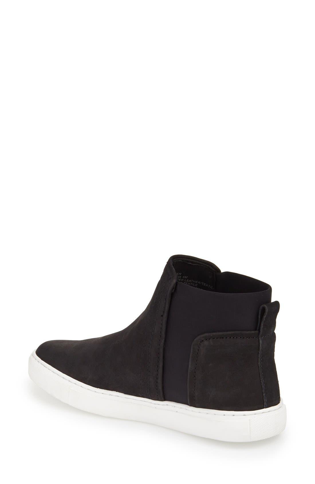 'Ken' Leather Slip-On Sneaker,                             Alternate thumbnail 4, color,                             001