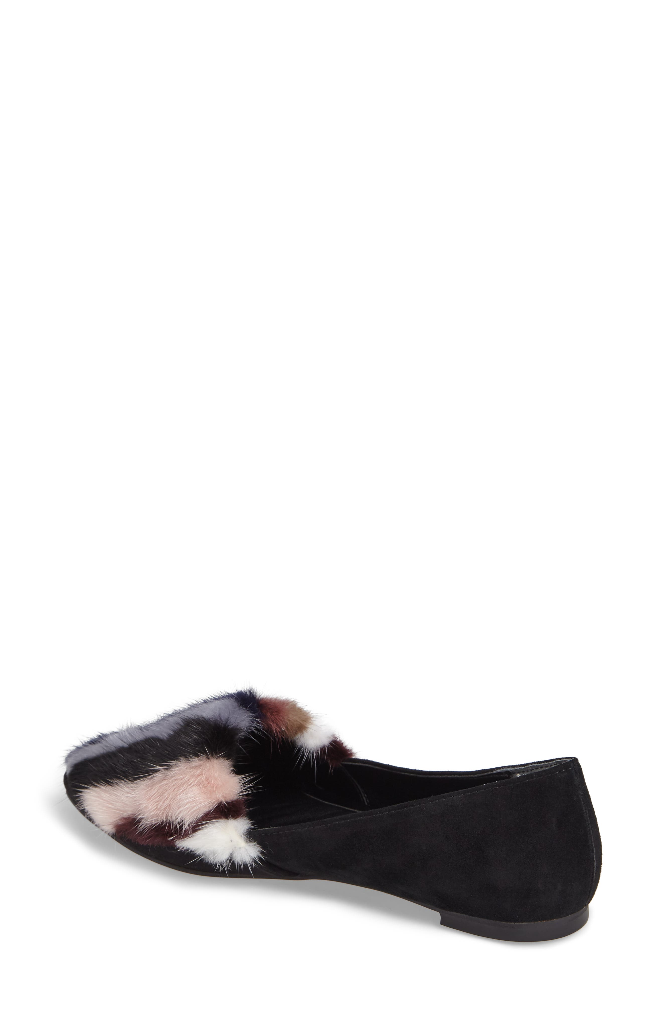 Amelie Genuine Mink Fur Flat,                             Alternate thumbnail 2, color,