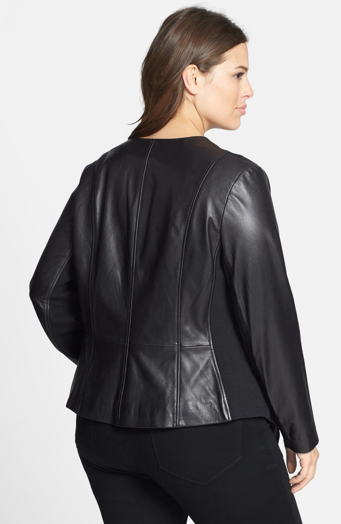 Waterfall Front Leather Jacket,                             Alternate thumbnail 3, color,
