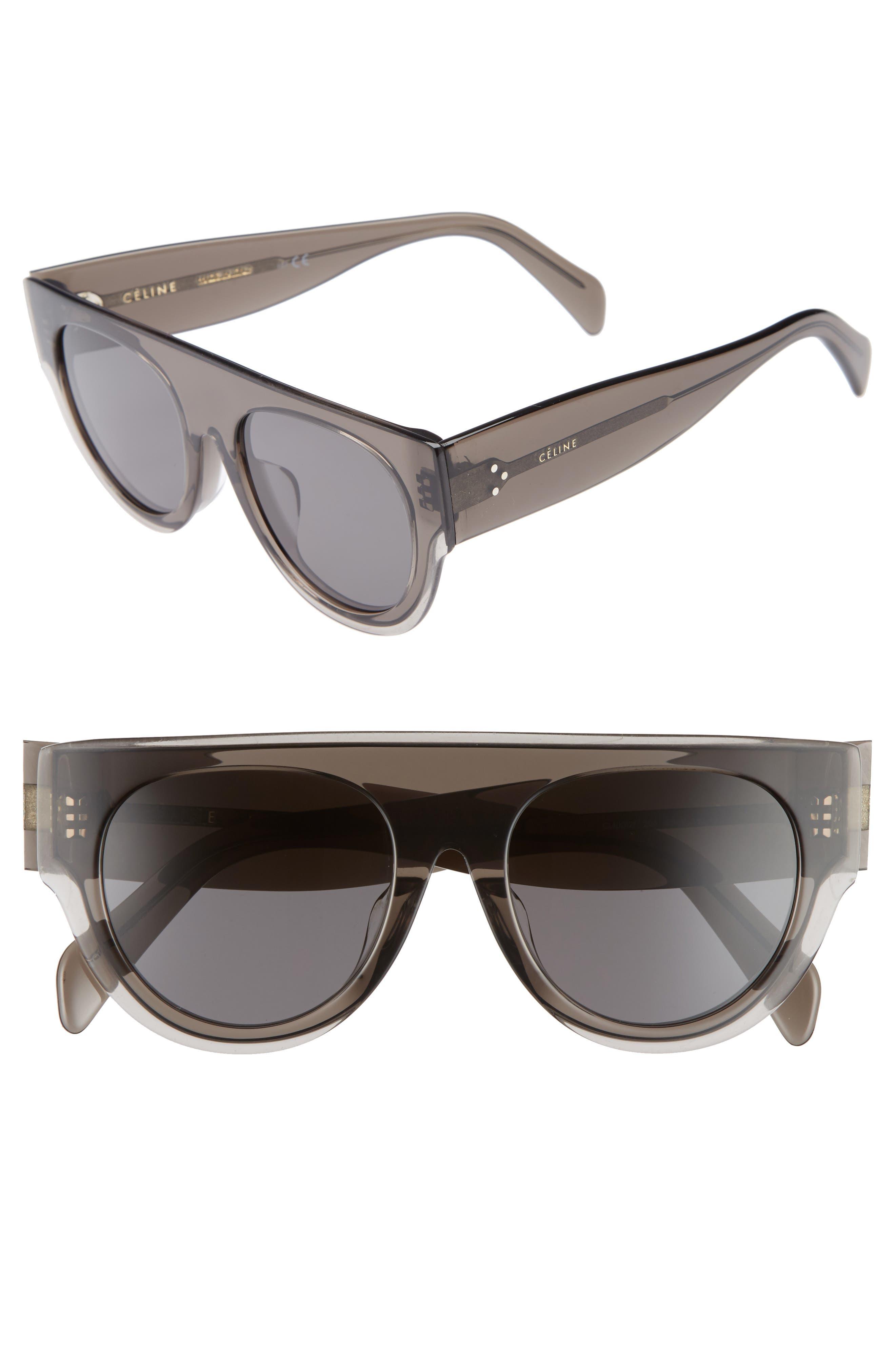 52mm Pilot Sunglasses,                             Main thumbnail 1, color,                             DARK GREY/ SMOKE