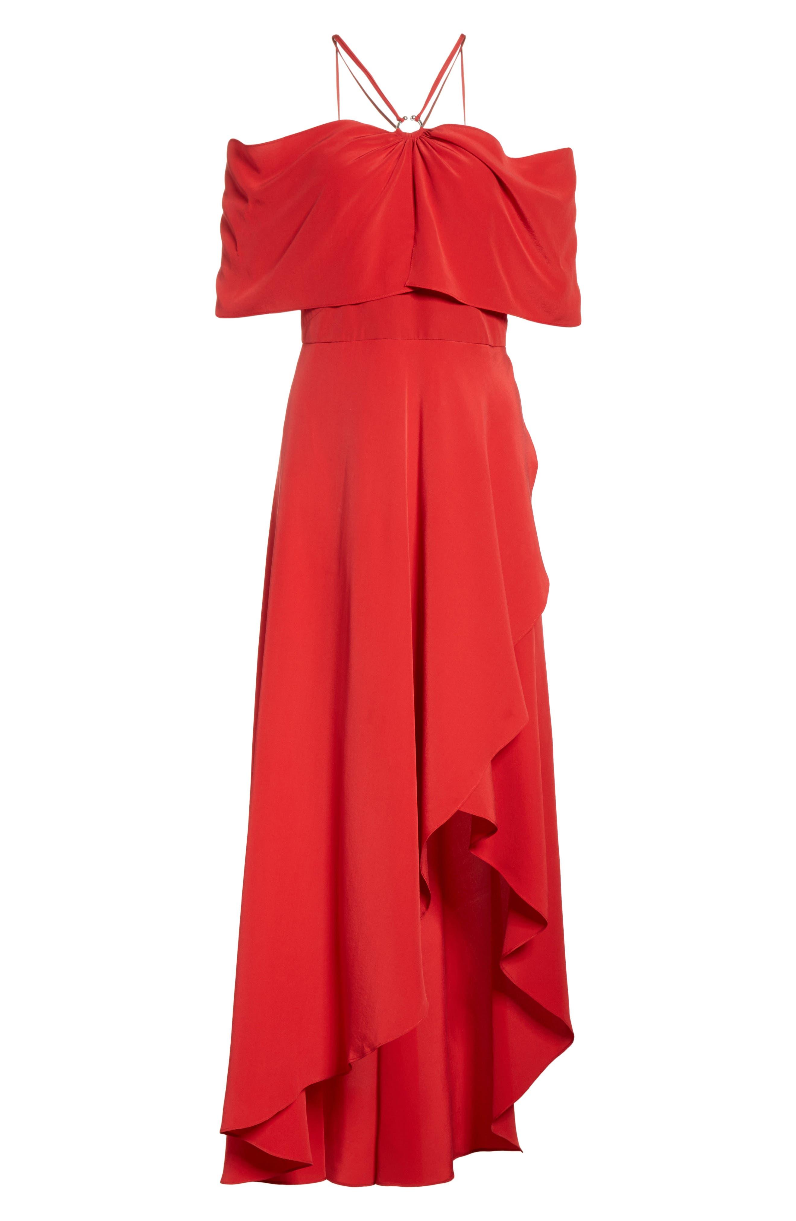 Cold Shoulder Silk Crepe Dress,                             Alternate thumbnail 6, color,                             620