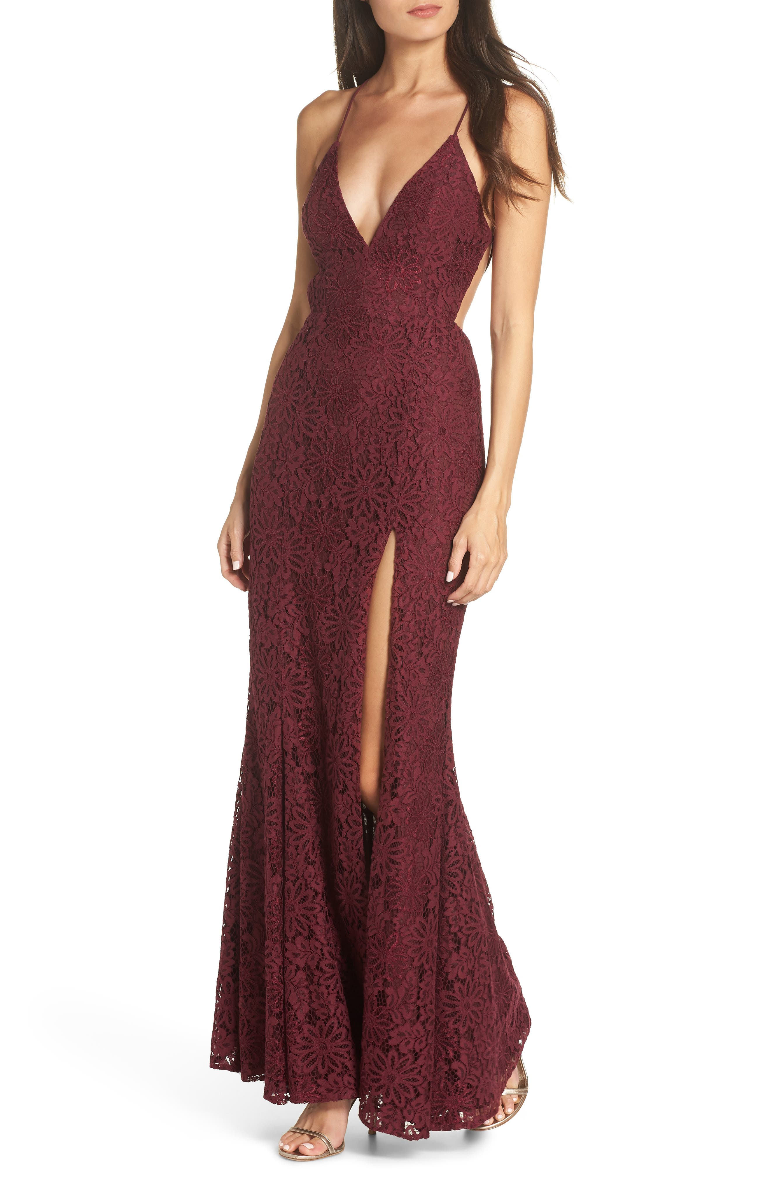 The Yan Gown,                             Main thumbnail 1, color,                             WINE