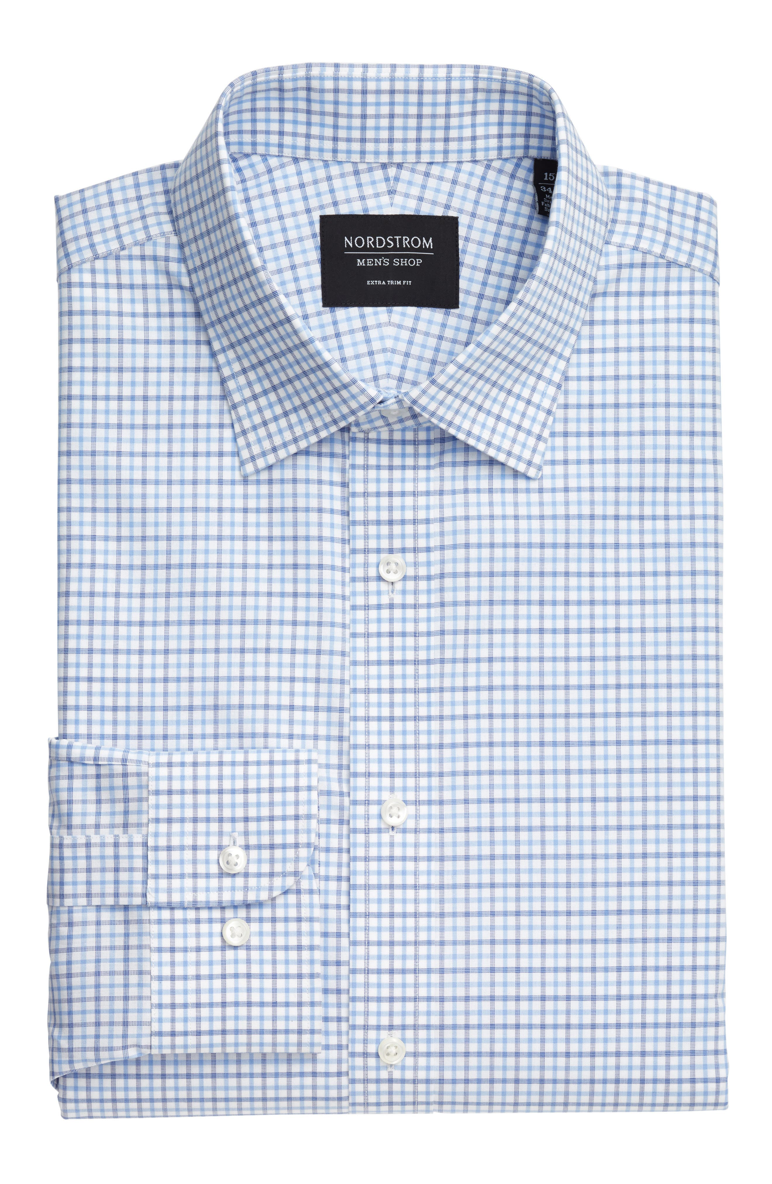 Extra Trim Fit Check Dress Shirt,                             Alternate thumbnail 19, color,