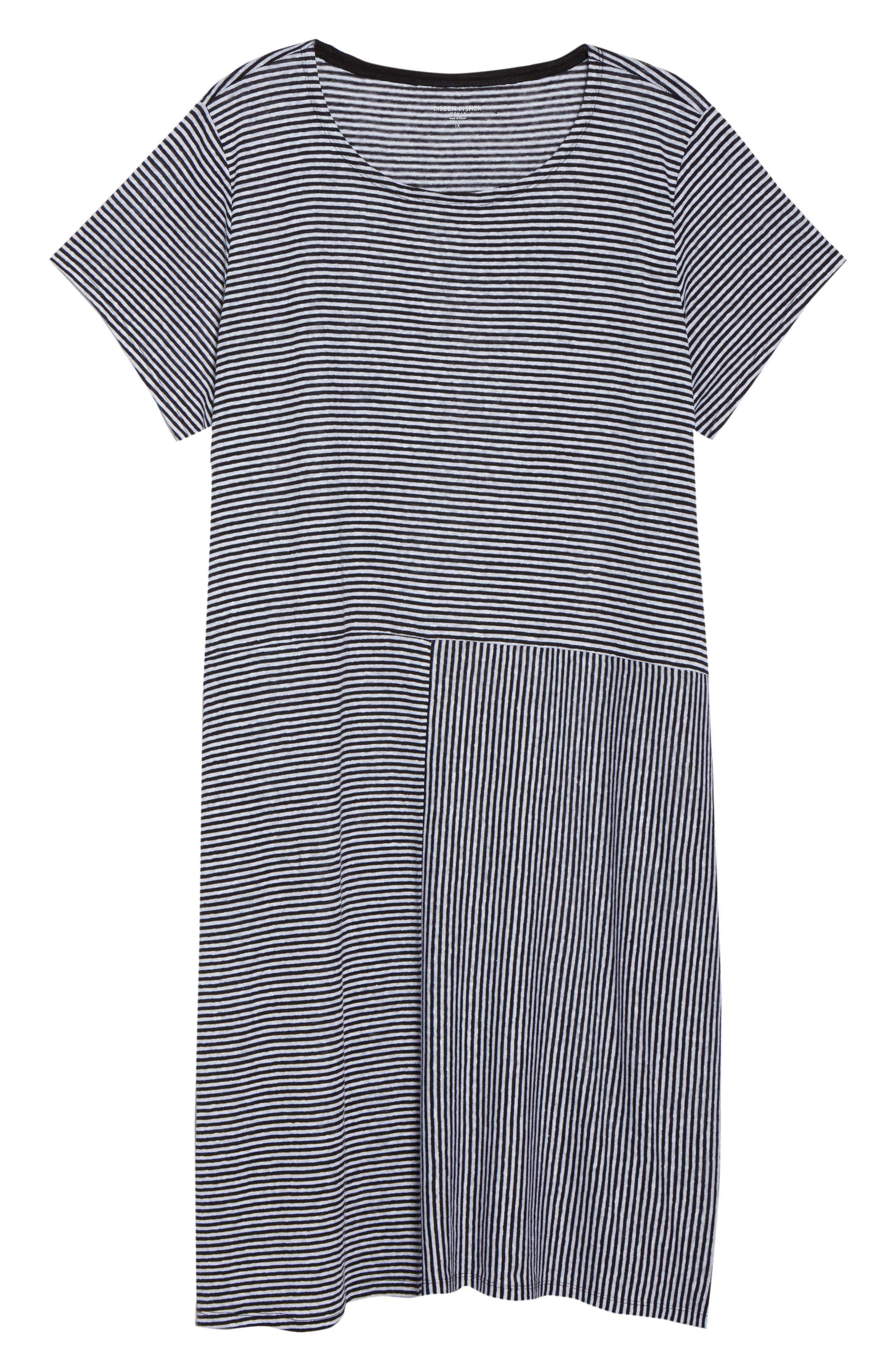 Stripe Organic Linen Jersey Shift Dress,                             Alternate thumbnail 7, color,                             018