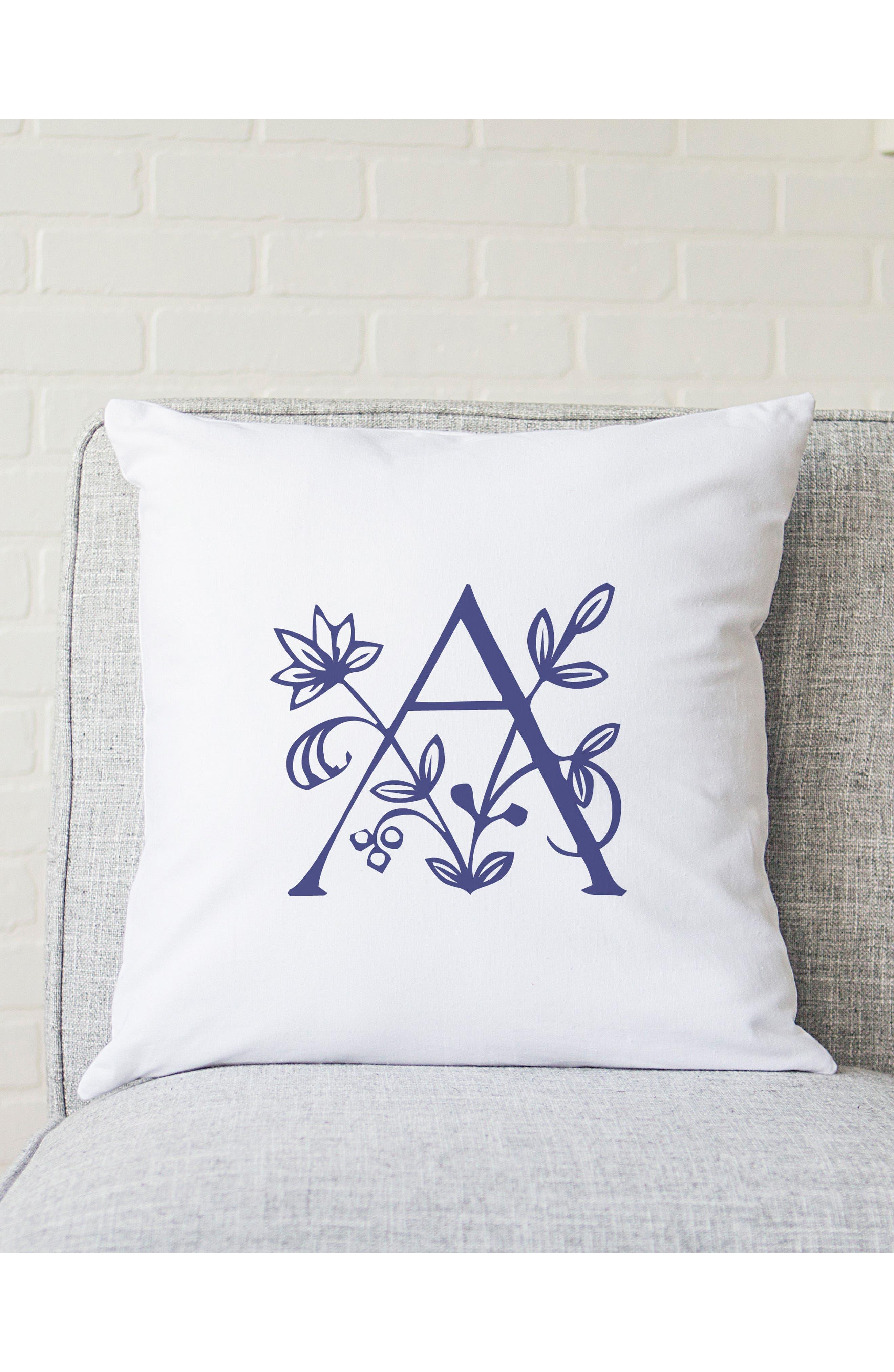 Floral Monogram Accent Pillow,                             Alternate thumbnail 3, color,                             400