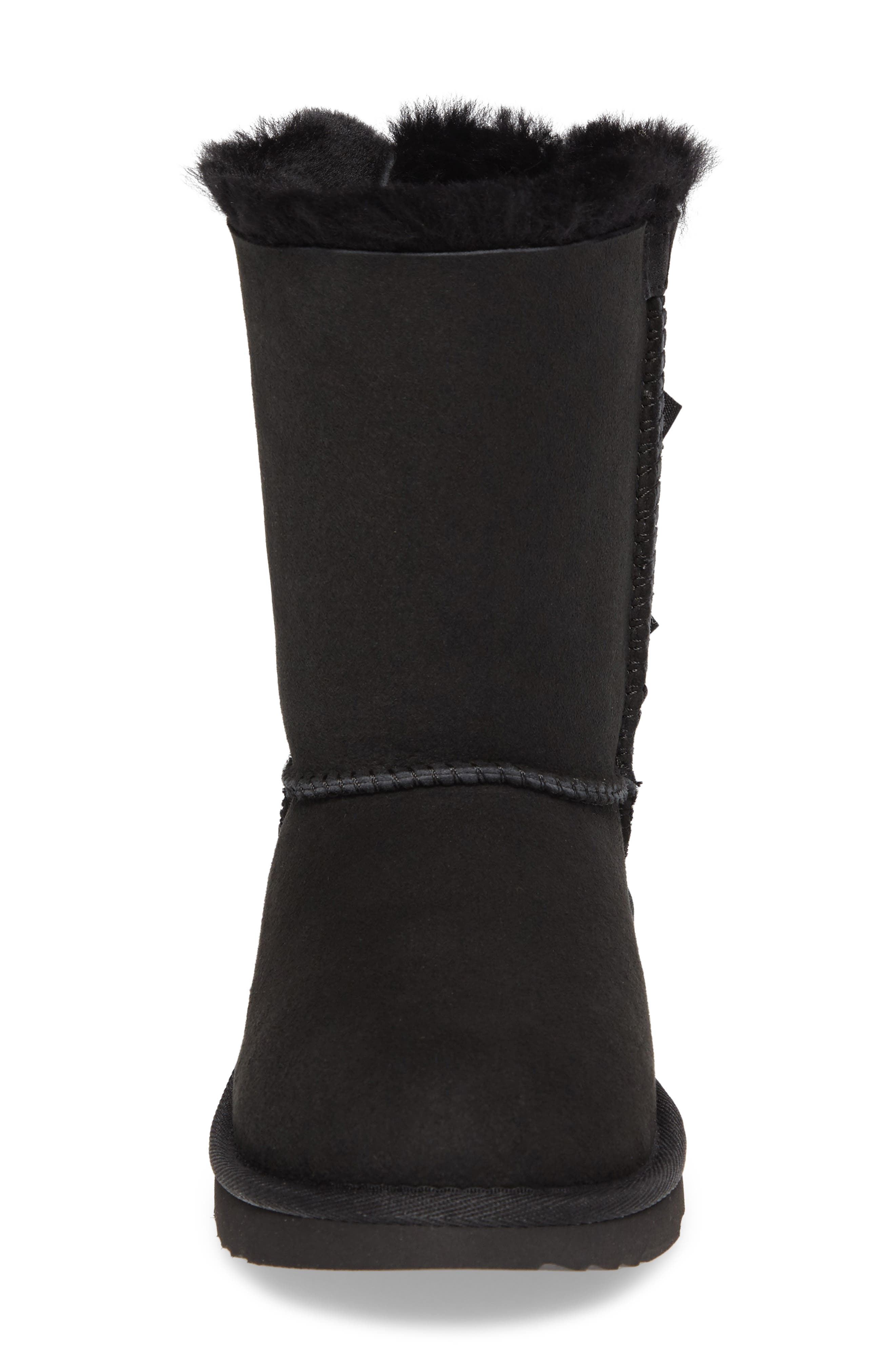Bailey Bow II Water Resistant Genuine Shearling Boot,                             Alternate thumbnail 4, color,                             BLACK SUEDE