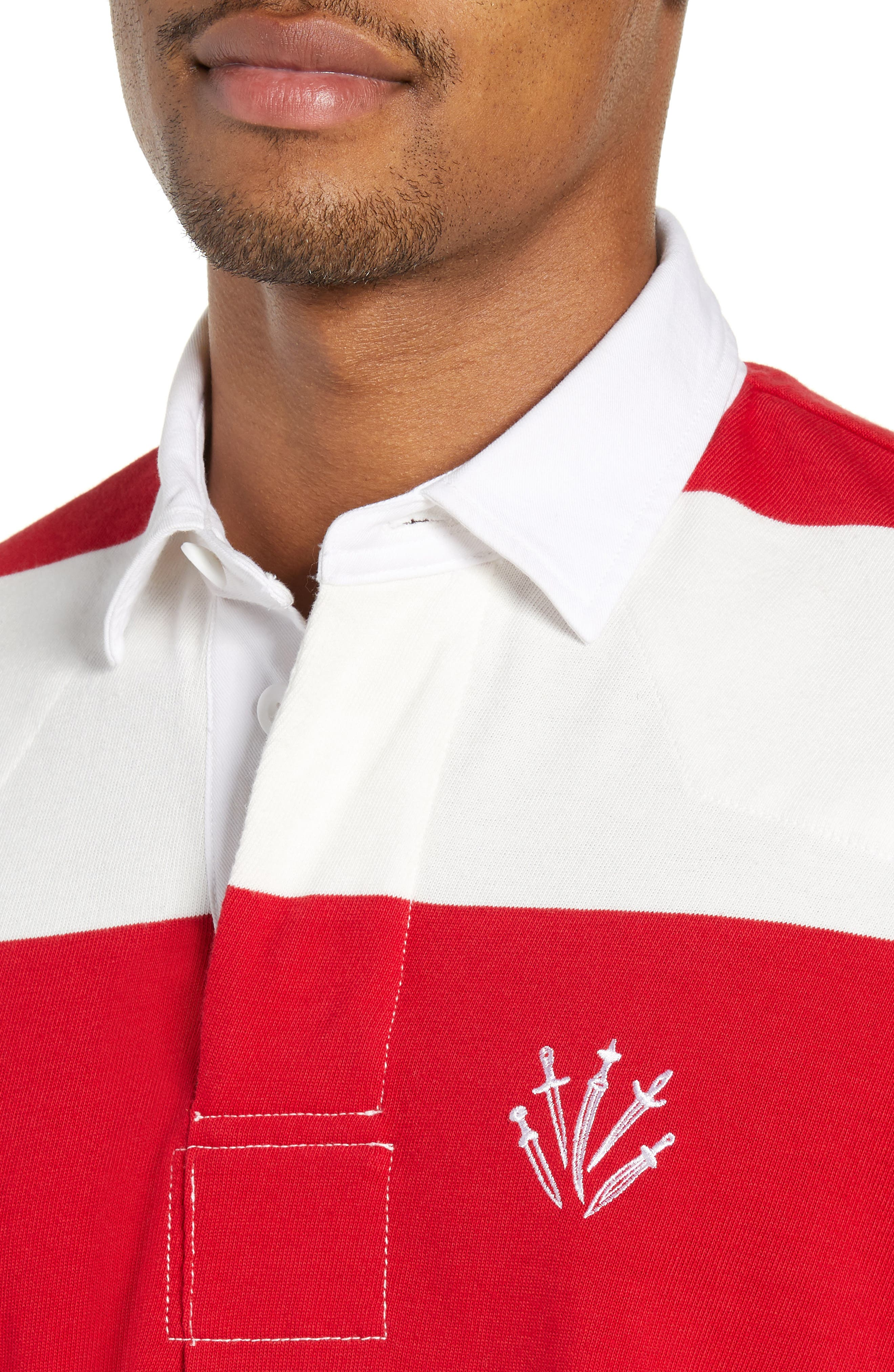 Regular Fit Rugby Shirt,                             Alternate thumbnail 4, color,                             RED/ IVORY