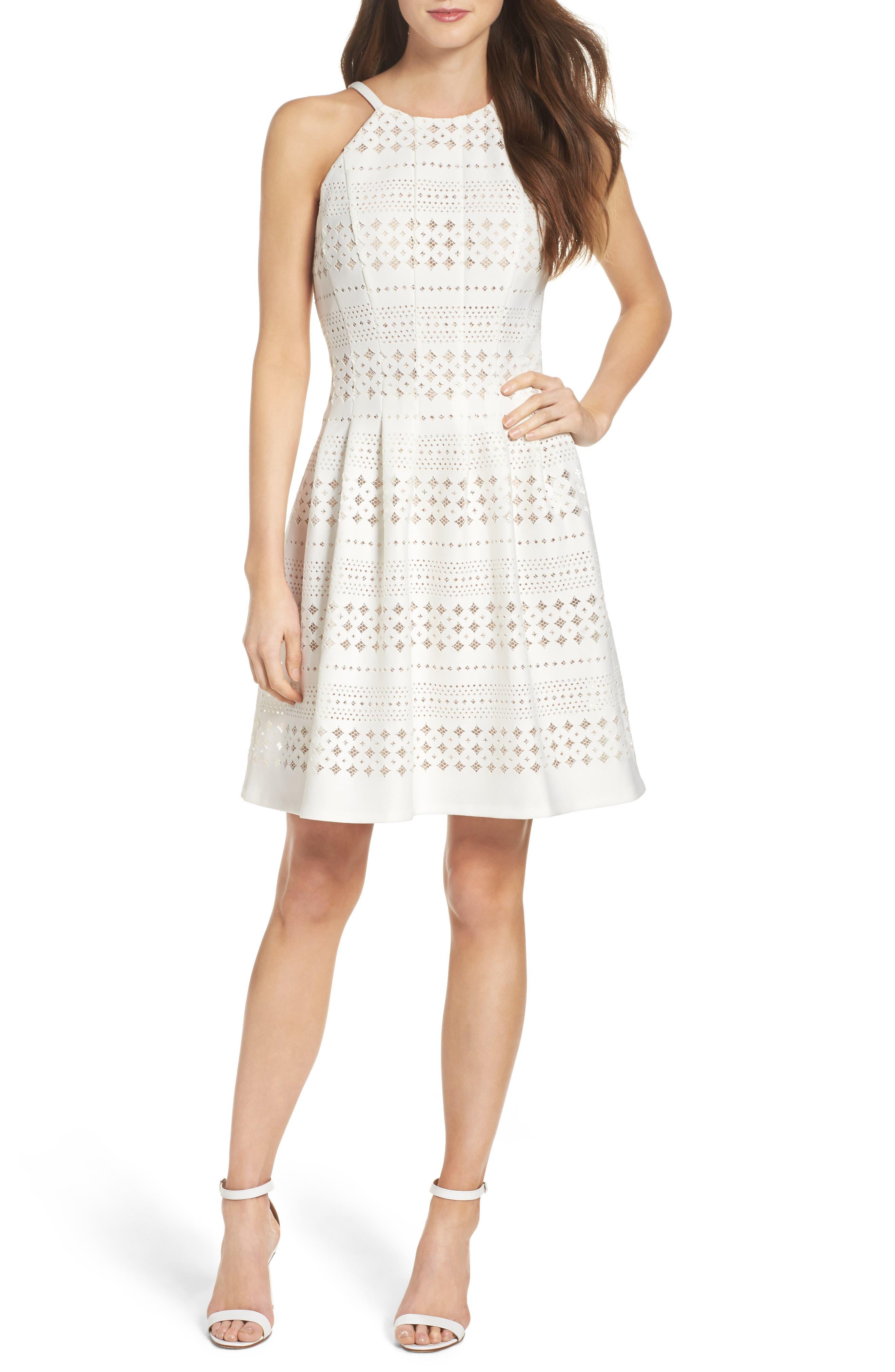 Laser Cut Fit & Flare Dress,                             Alternate thumbnail 5, color,                             901