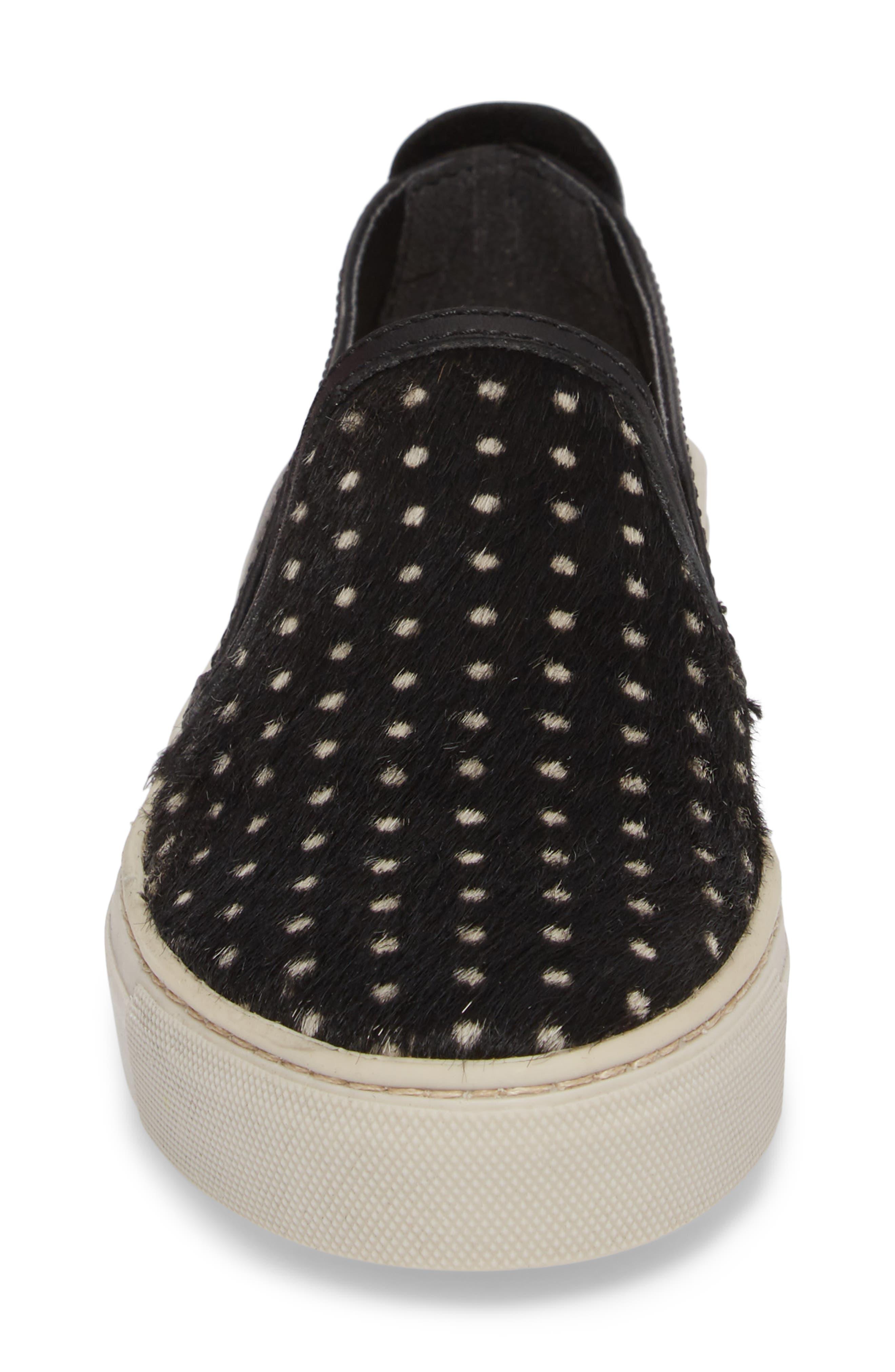 Sneak About Slip-On Sneaker,                             Alternate thumbnail 4, color,                             BLACK POLKA DOT LEATHER