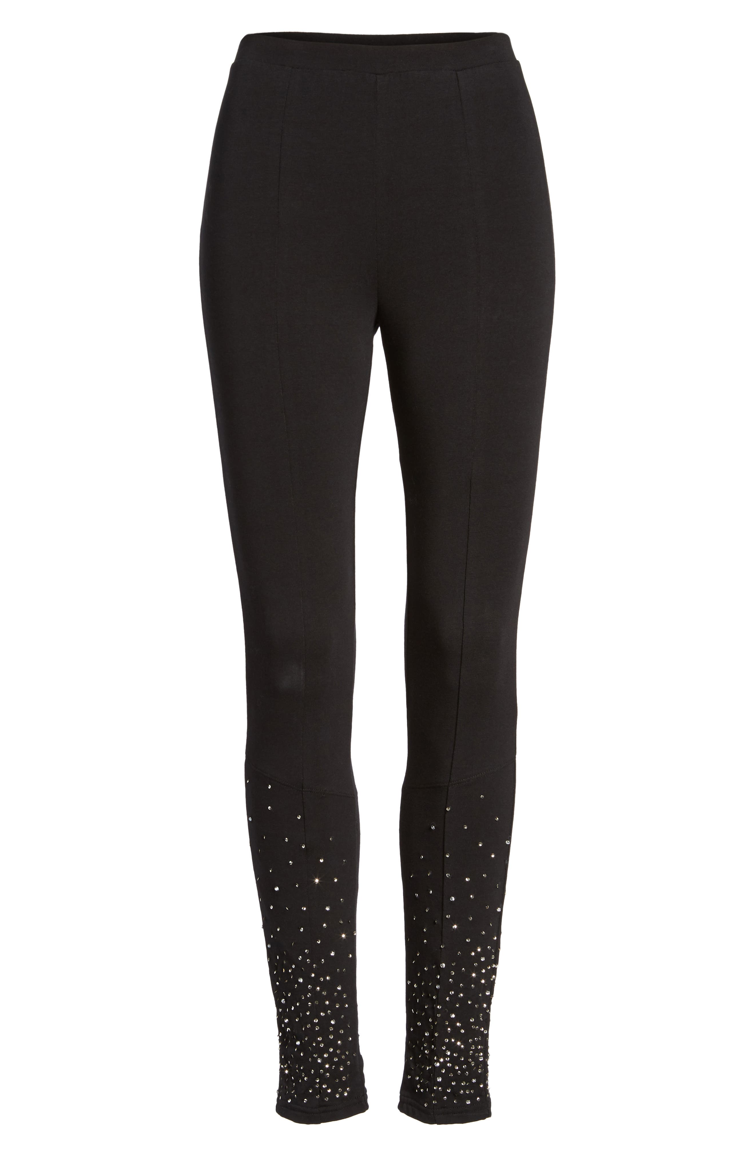 Sequin Embellished Leggings,                             Alternate thumbnail 6, color,                             001