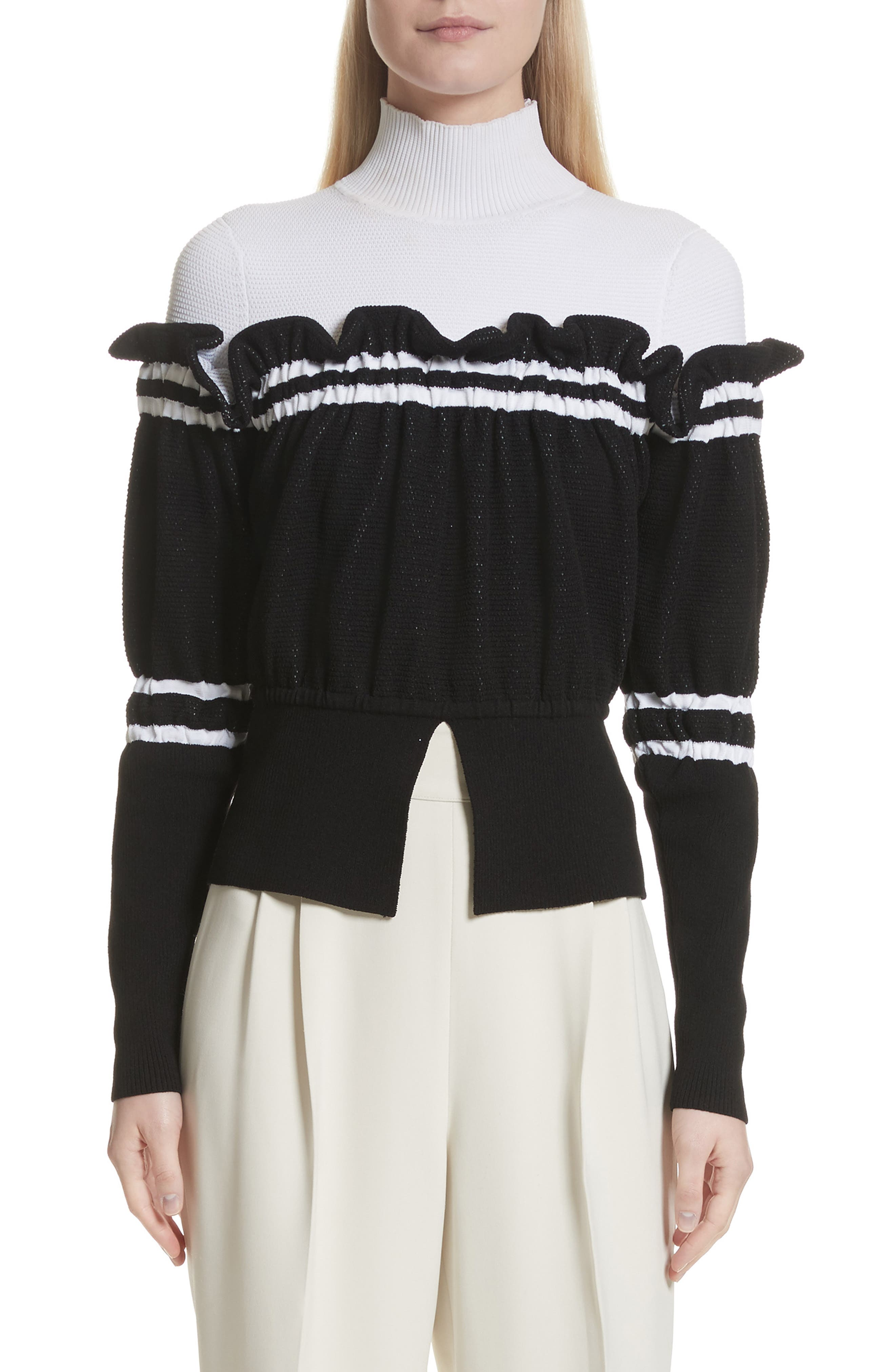 Ruffle Overlay Knit Turtleneck,                             Main thumbnail 1, color,