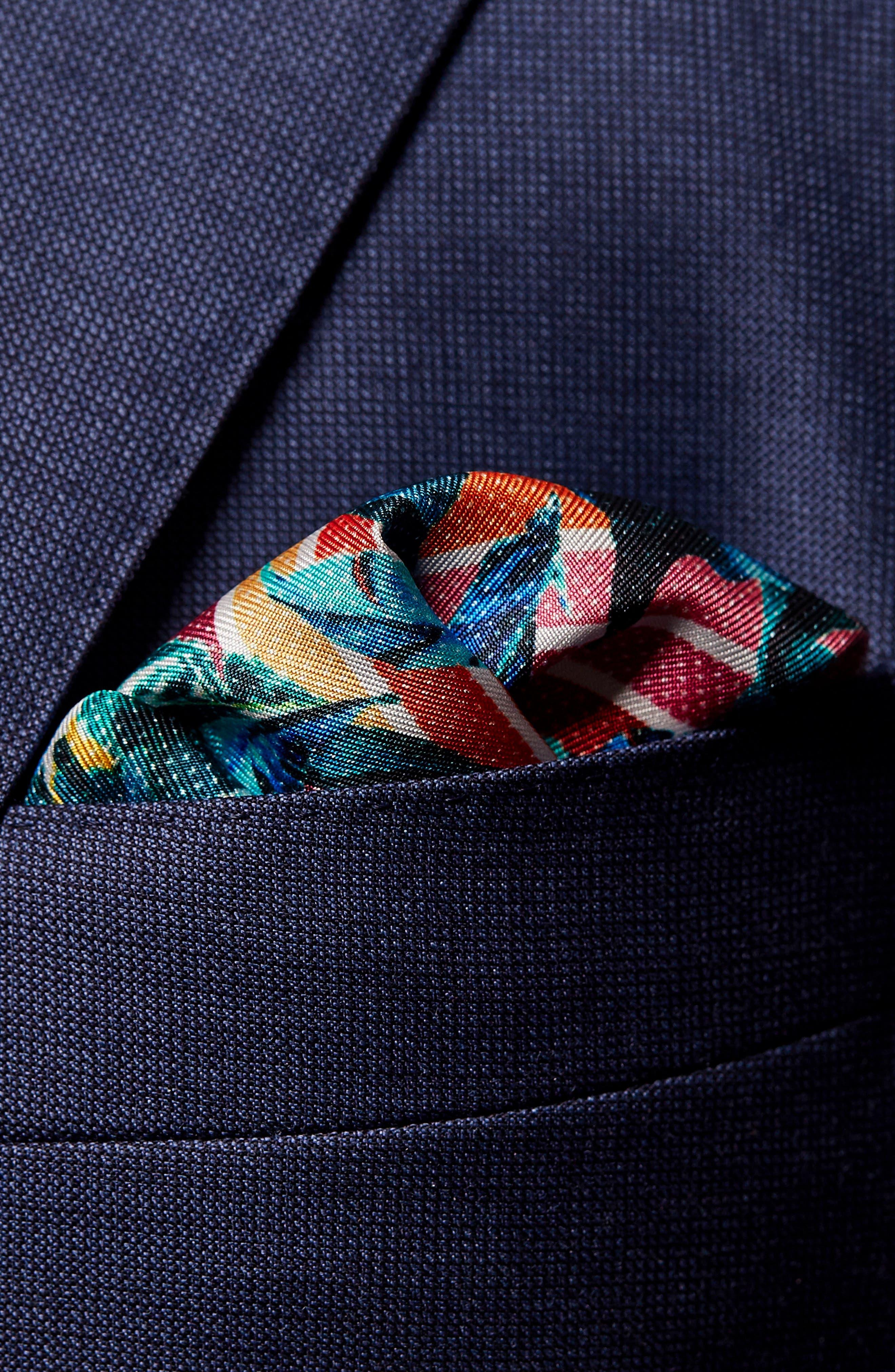 Tropical Leaf Silk Pocket Square,                             Alternate thumbnail 3, color,                             600