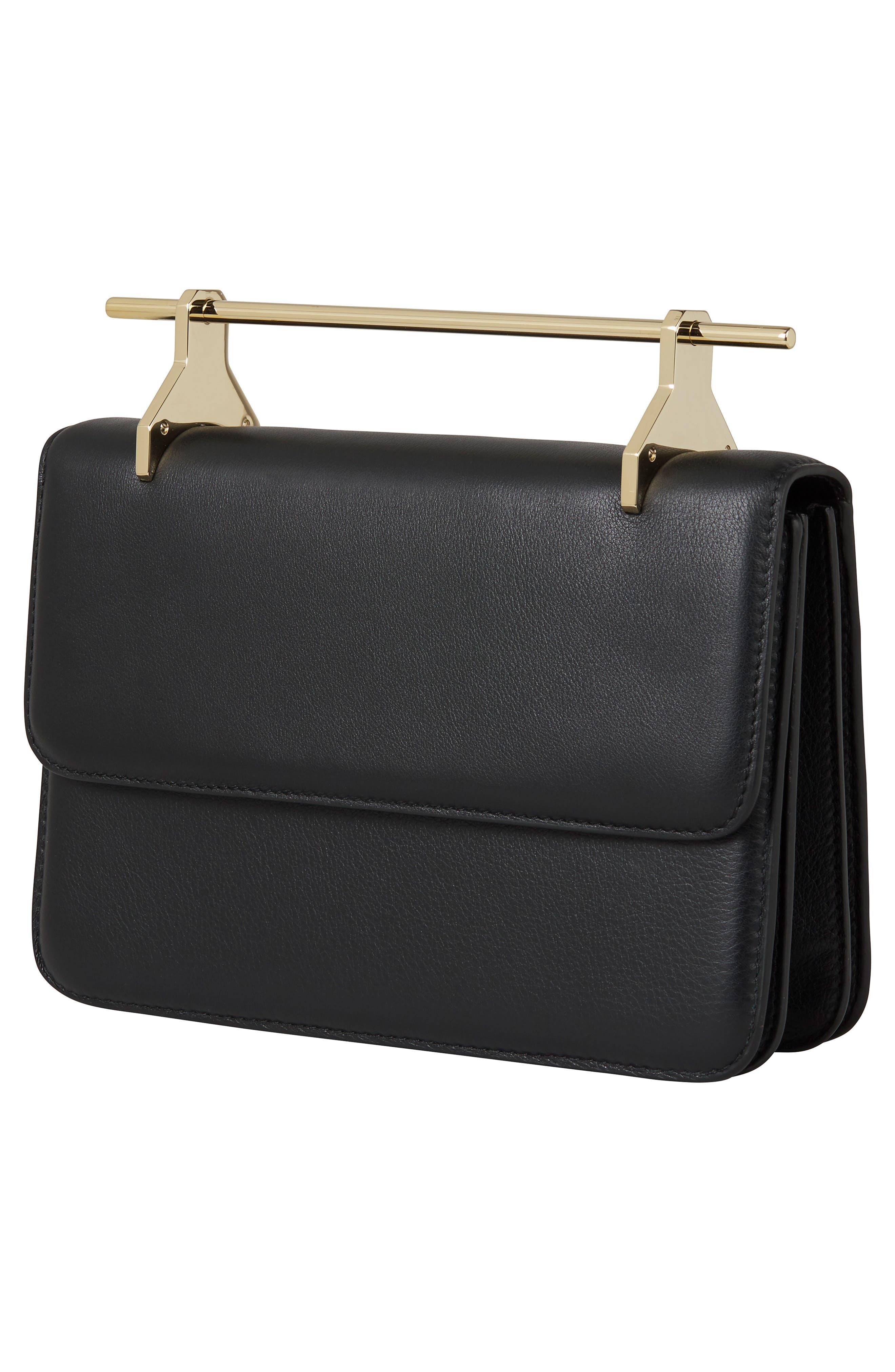 La Fleur du Mal Leather Shoulder Bag,                             Alternate thumbnail 3, color,                             BLACK/ GOLD