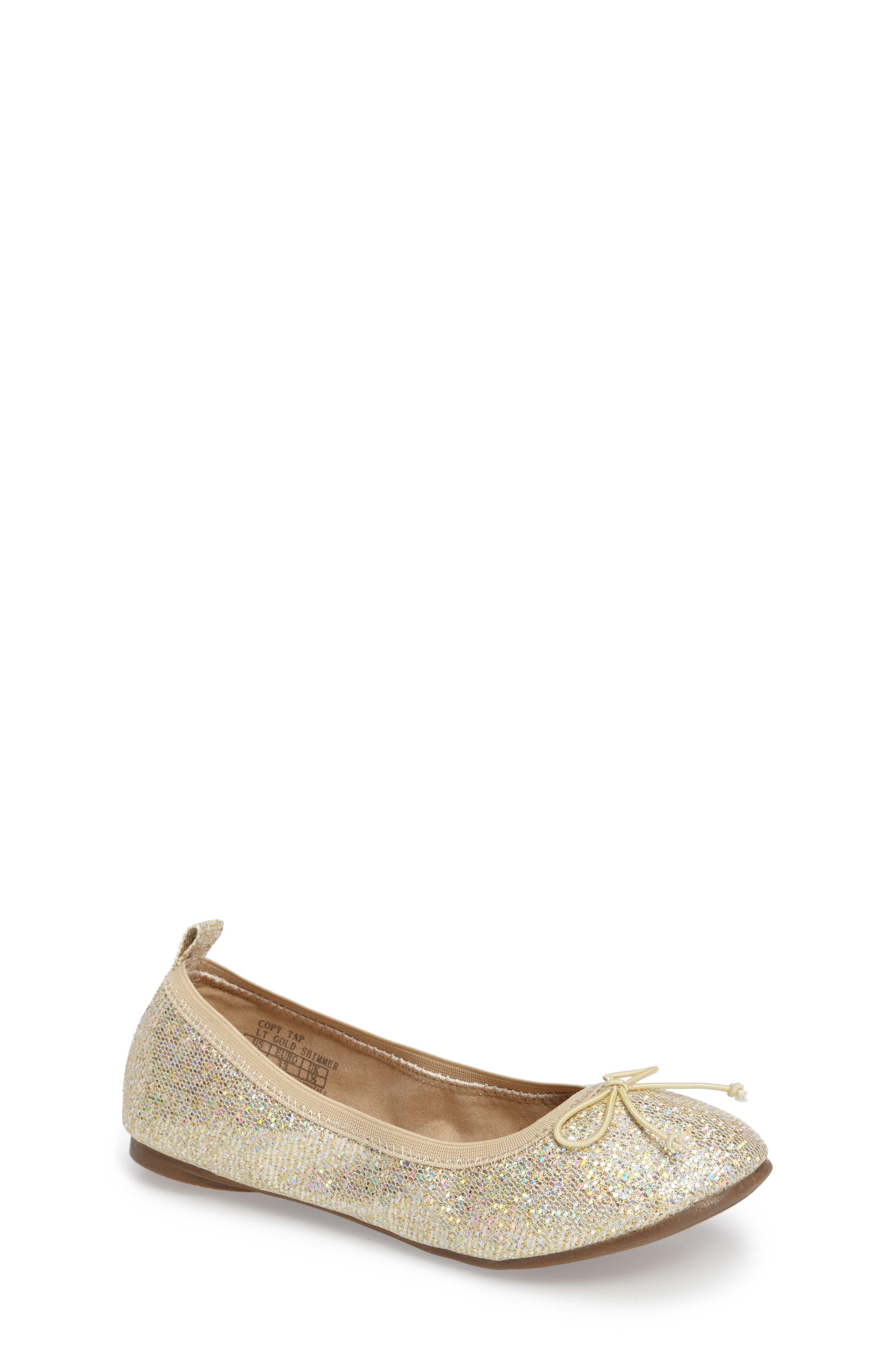 Copy Tap Shimmer Ballet Flat,                         Main,                         color, LIGHT GOLD SHIMMER