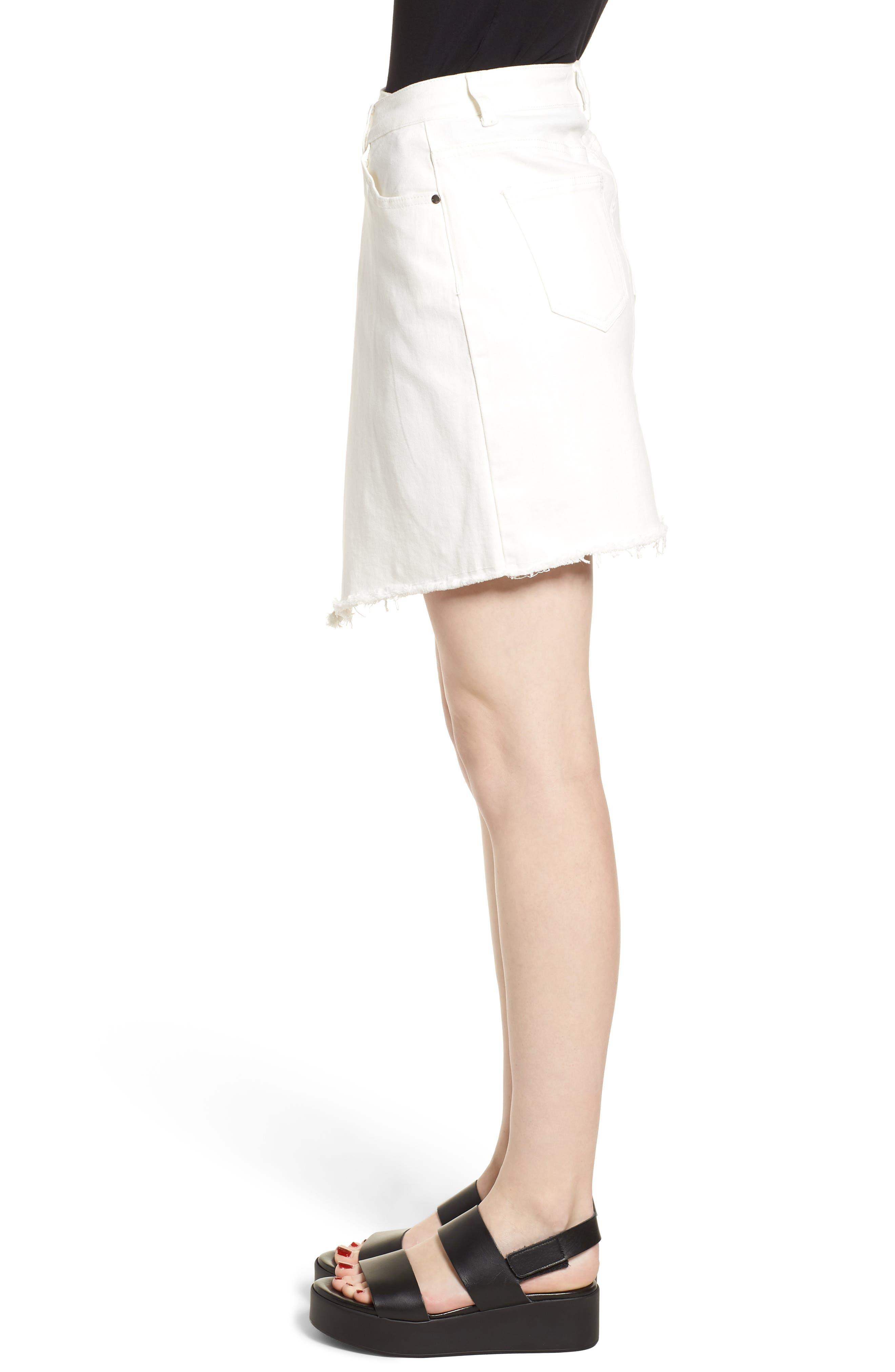 Asymmetrical Denim Skirt,                             Alternate thumbnail 3, color,                             100