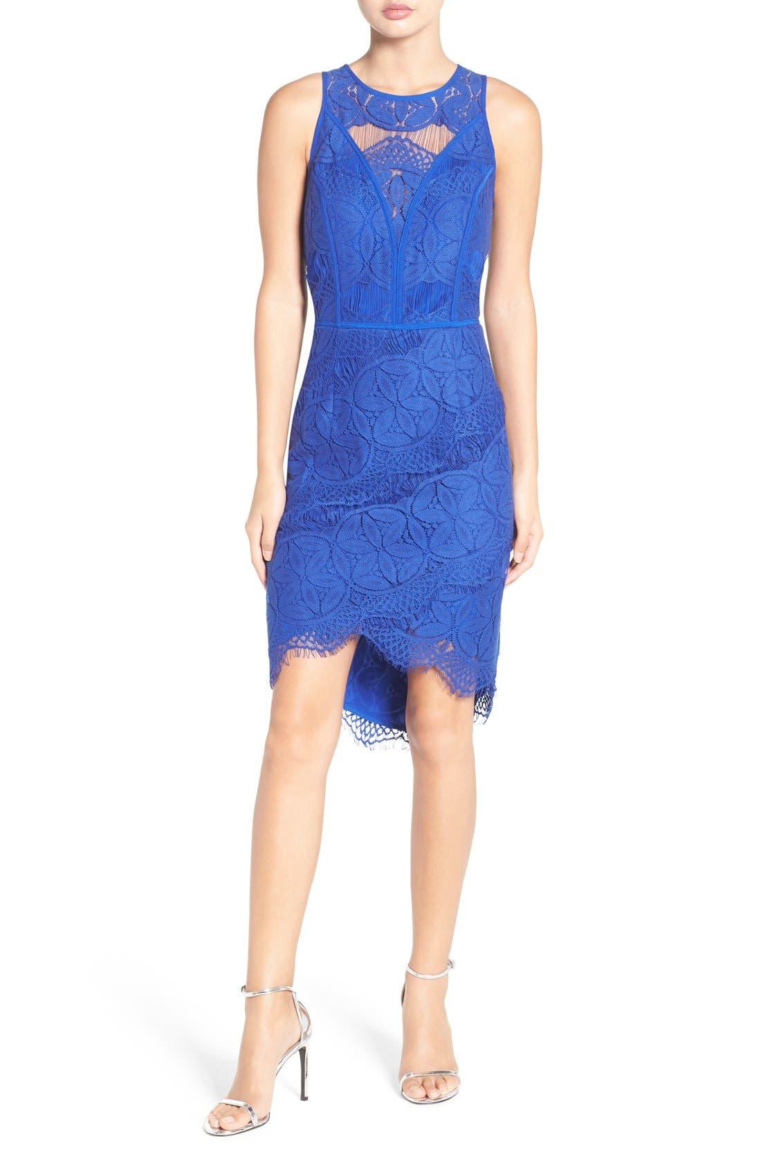 Lace High/Low Sheath Dress,                             Alternate thumbnail 14, color,