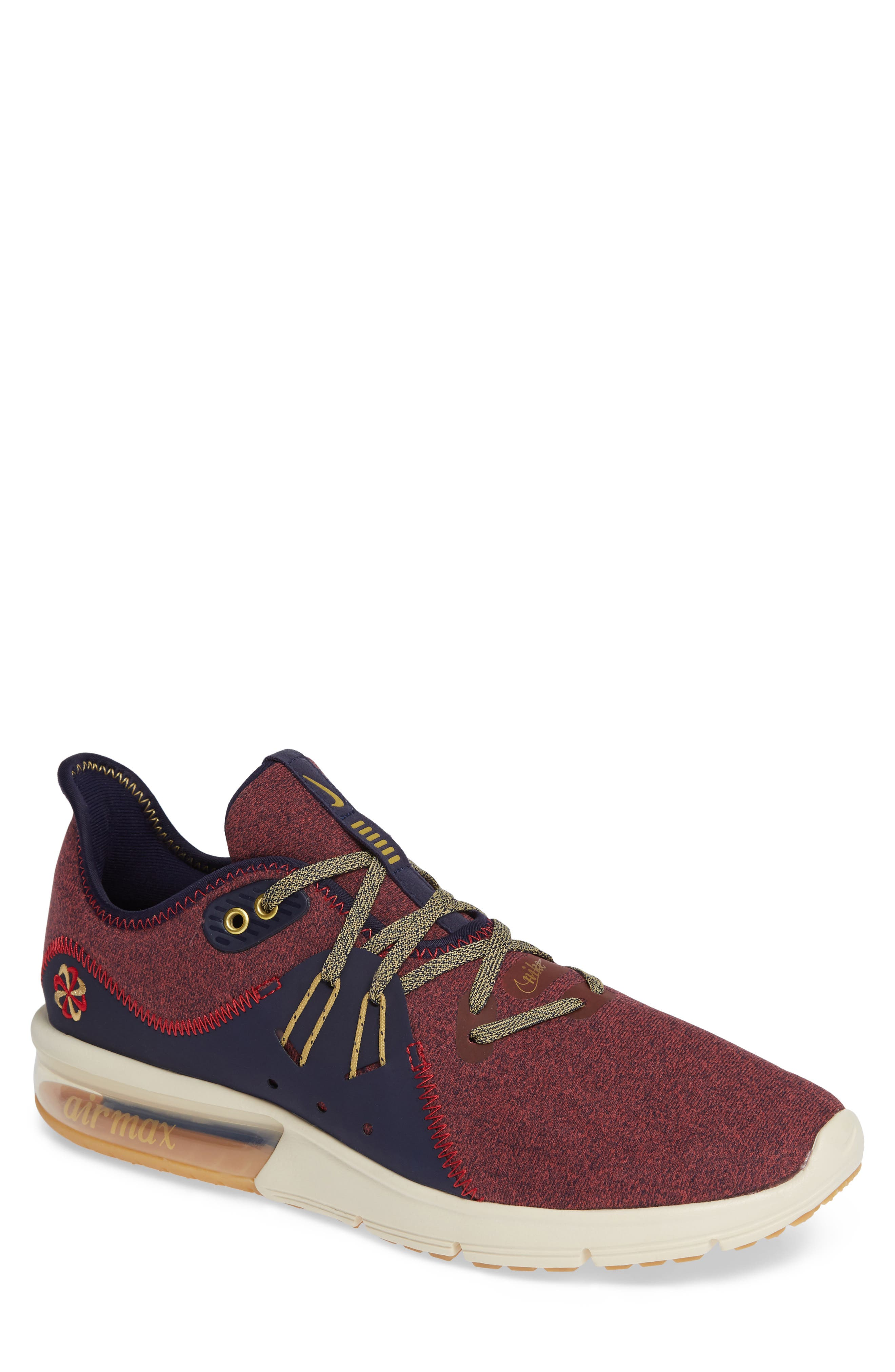 Air Max Sequent 3 PRM VST Sneaker,                             Main thumbnail 1, color,                             RED CRUSH/ WHEAT GOLD/ BLUE