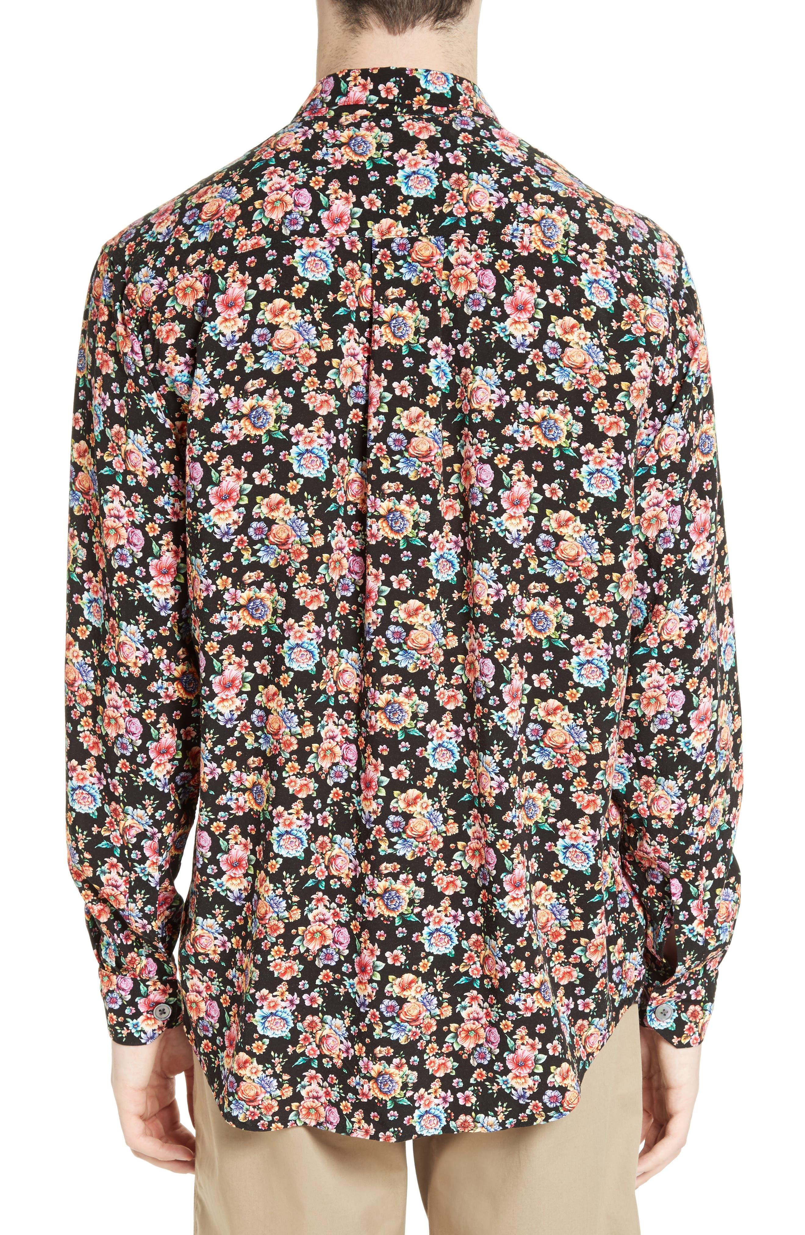 Floral Print Shirt,                             Alternate thumbnail 3, color,                             001