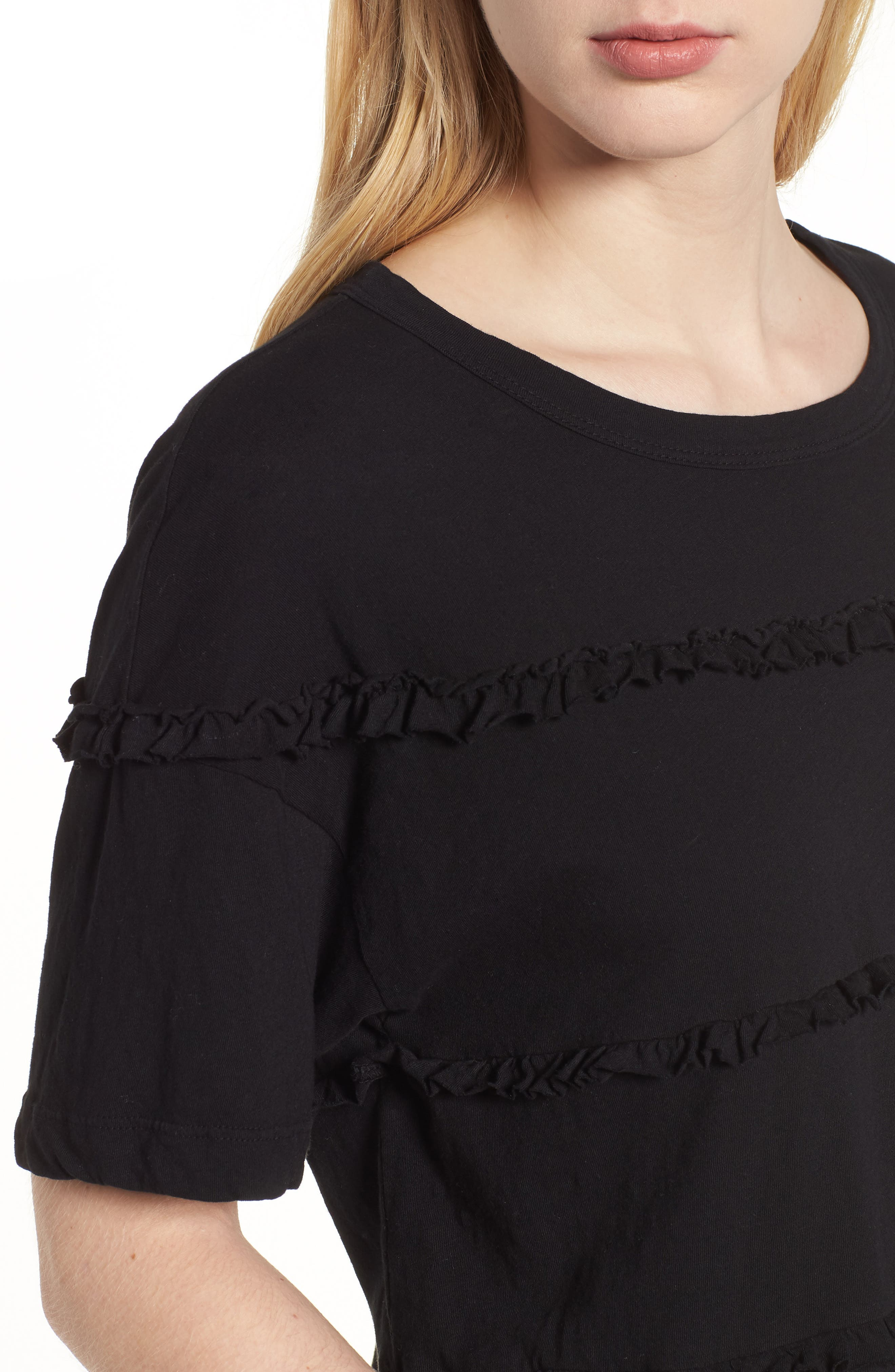 The Claudia Ruffle Tee,                             Alternate thumbnail 4, color,                             001