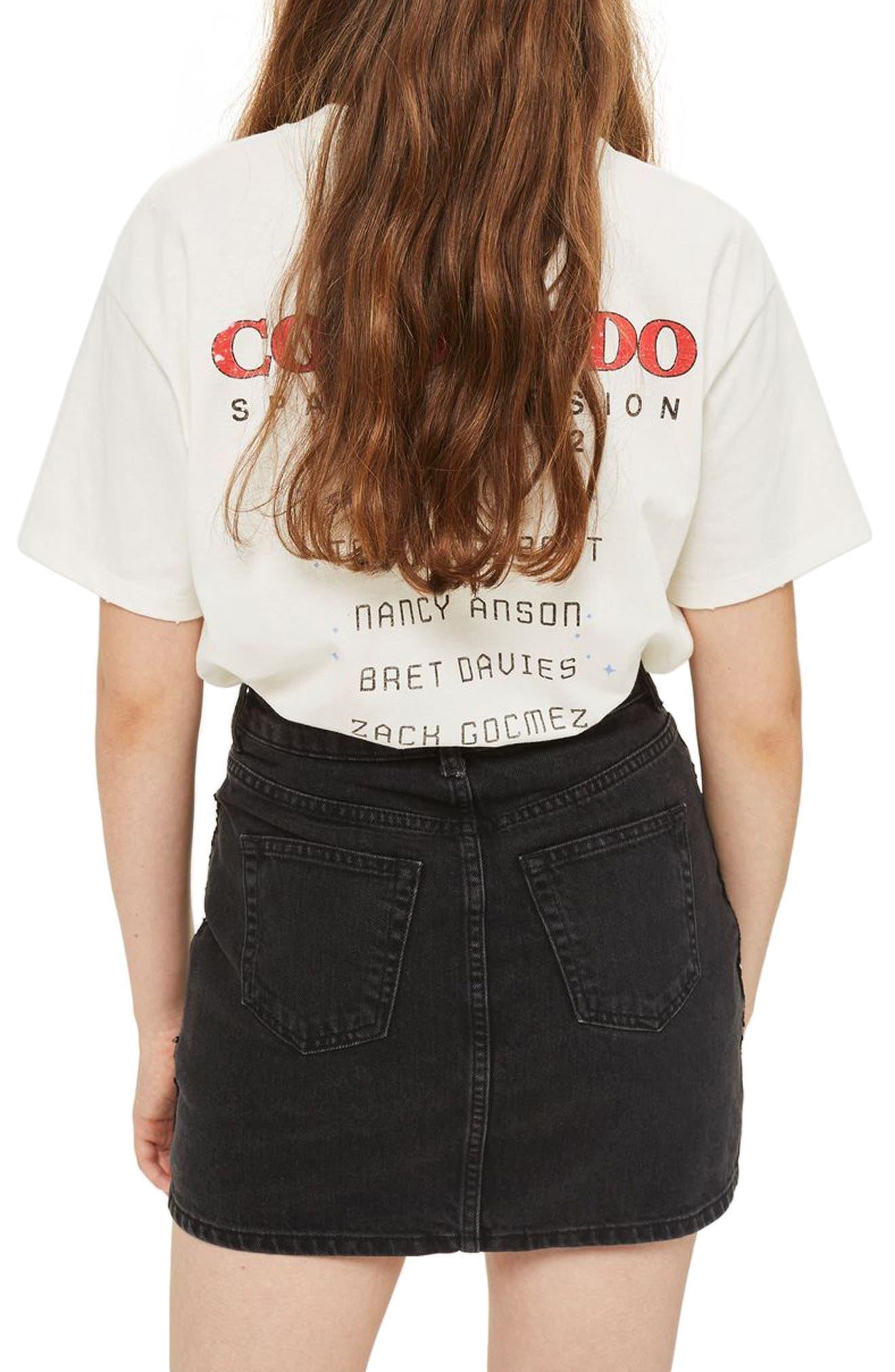 Beetle Sequin Denim Miniskirt,                             Alternate thumbnail 2, color,