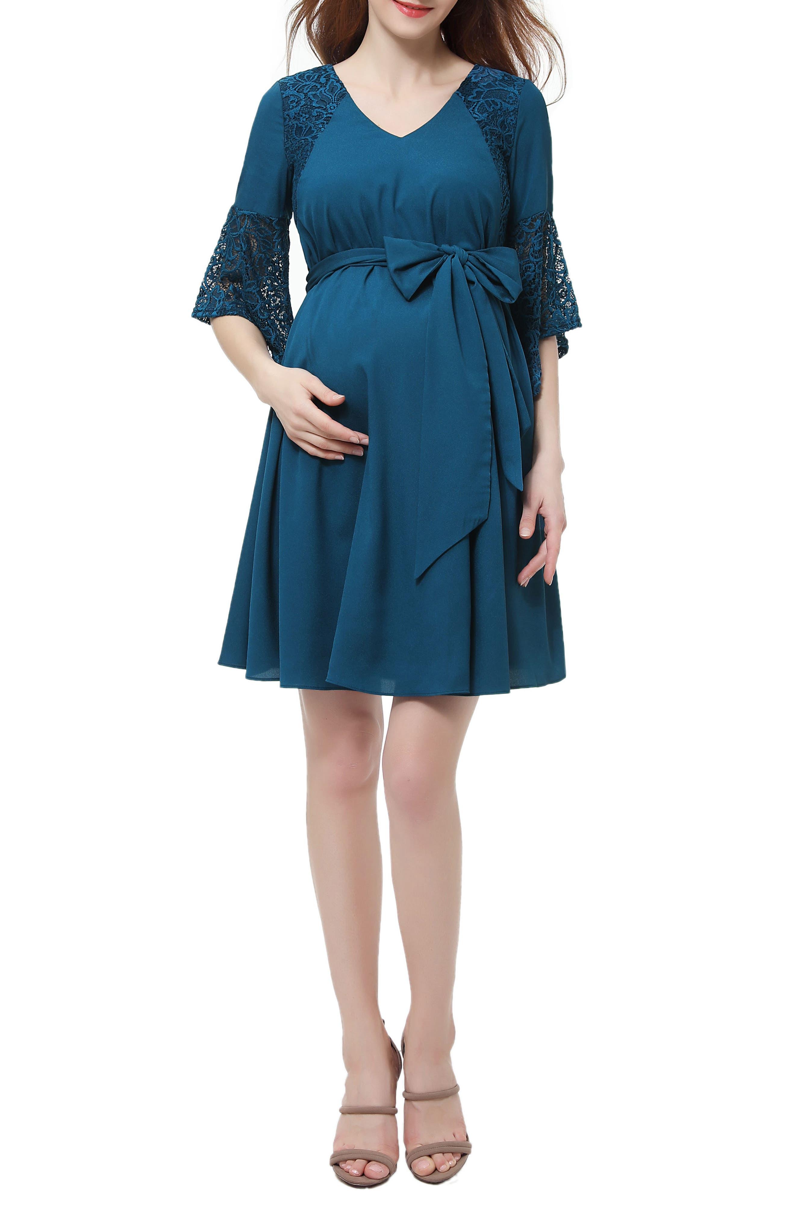 KIMI AND KAI,                             Abbey Lace Trim Maternity Dress,                             Main thumbnail 1, color,                             DEEP SEA