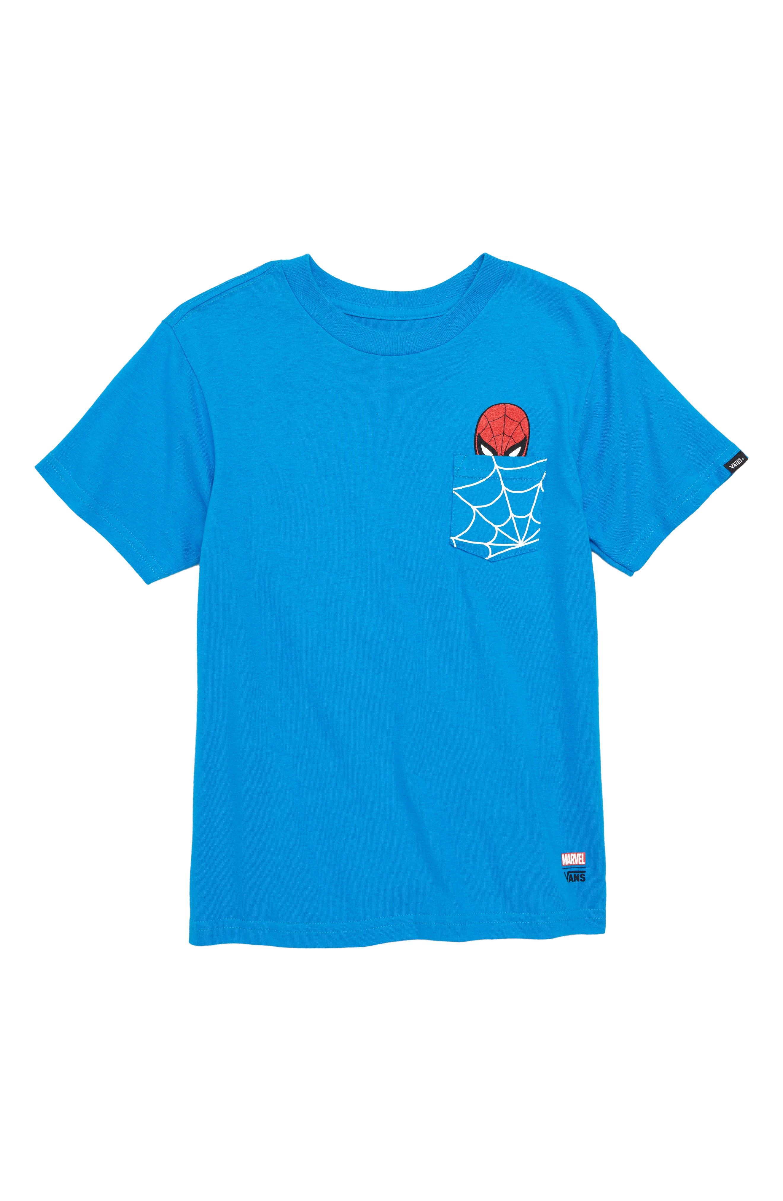 VANS x Marvel<sup>®</sup> Avengers Spider-Man<sup>™</sup> Pocket T-Shirt, Main, color, 420