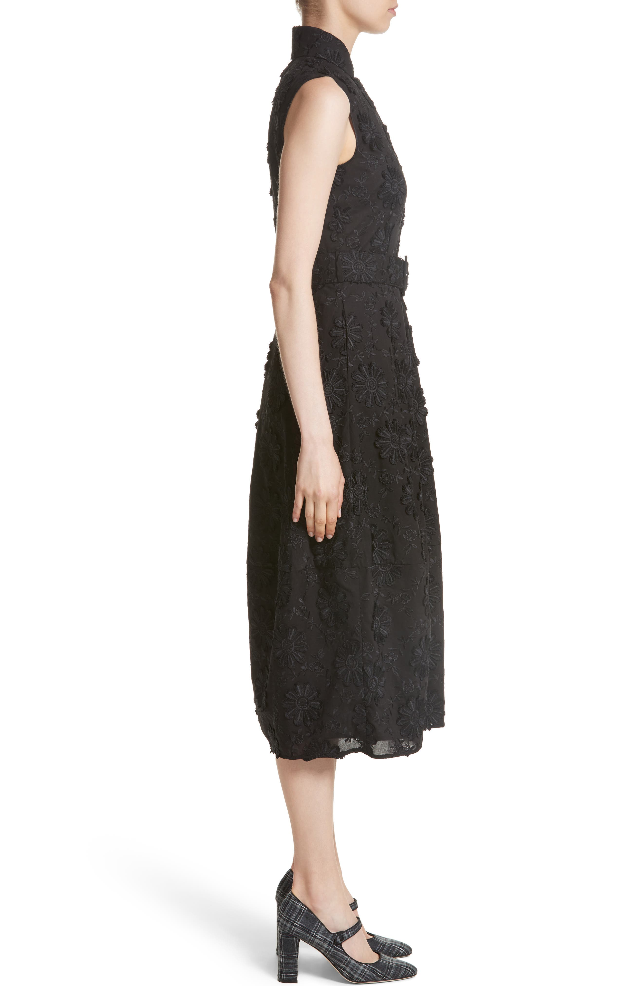 Floral Embroidered Dress,                             Alternate thumbnail 3, color,                             001