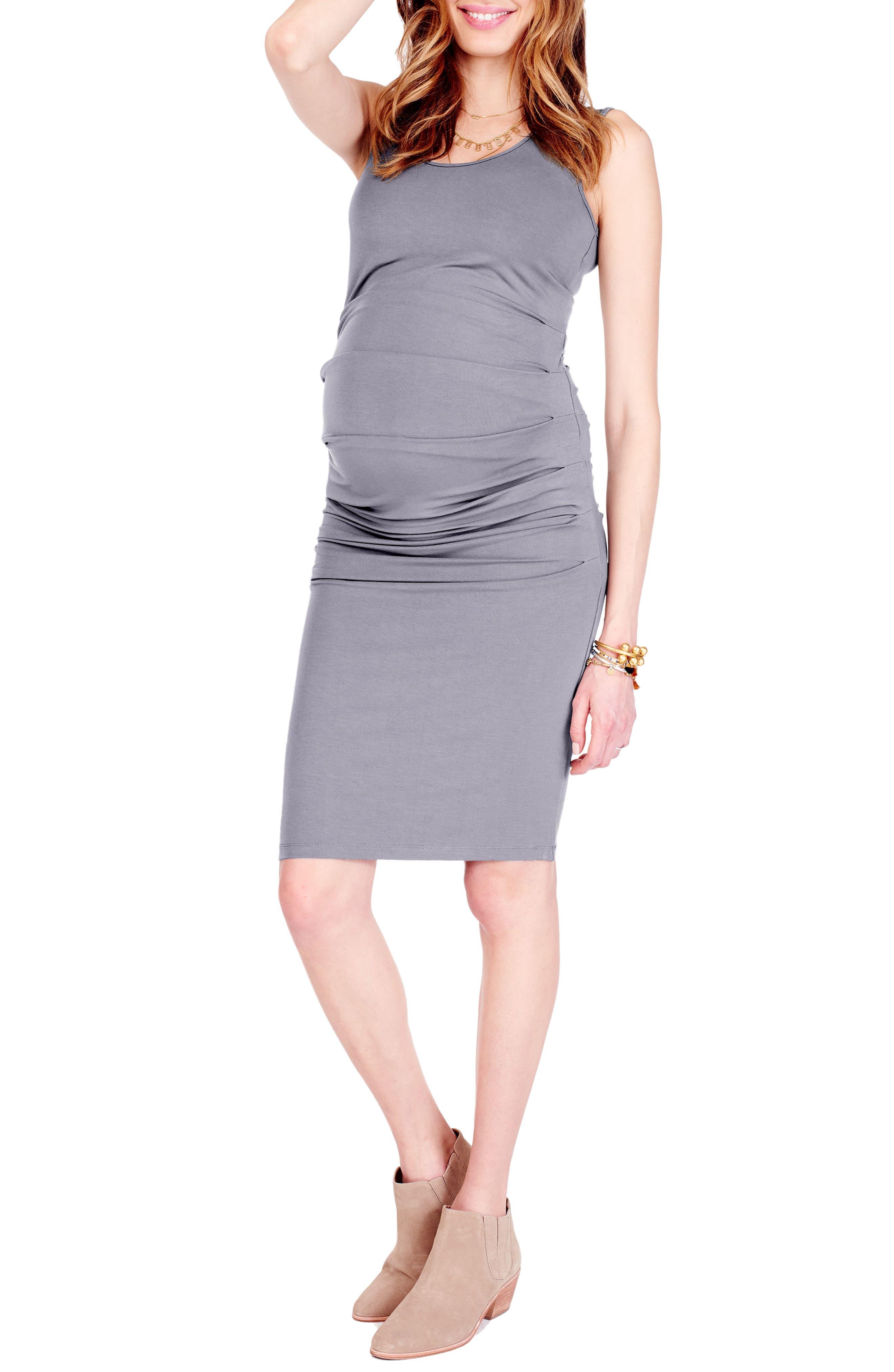 Ingrid & Isabel Ruched Maternity Tank Dress, Grey