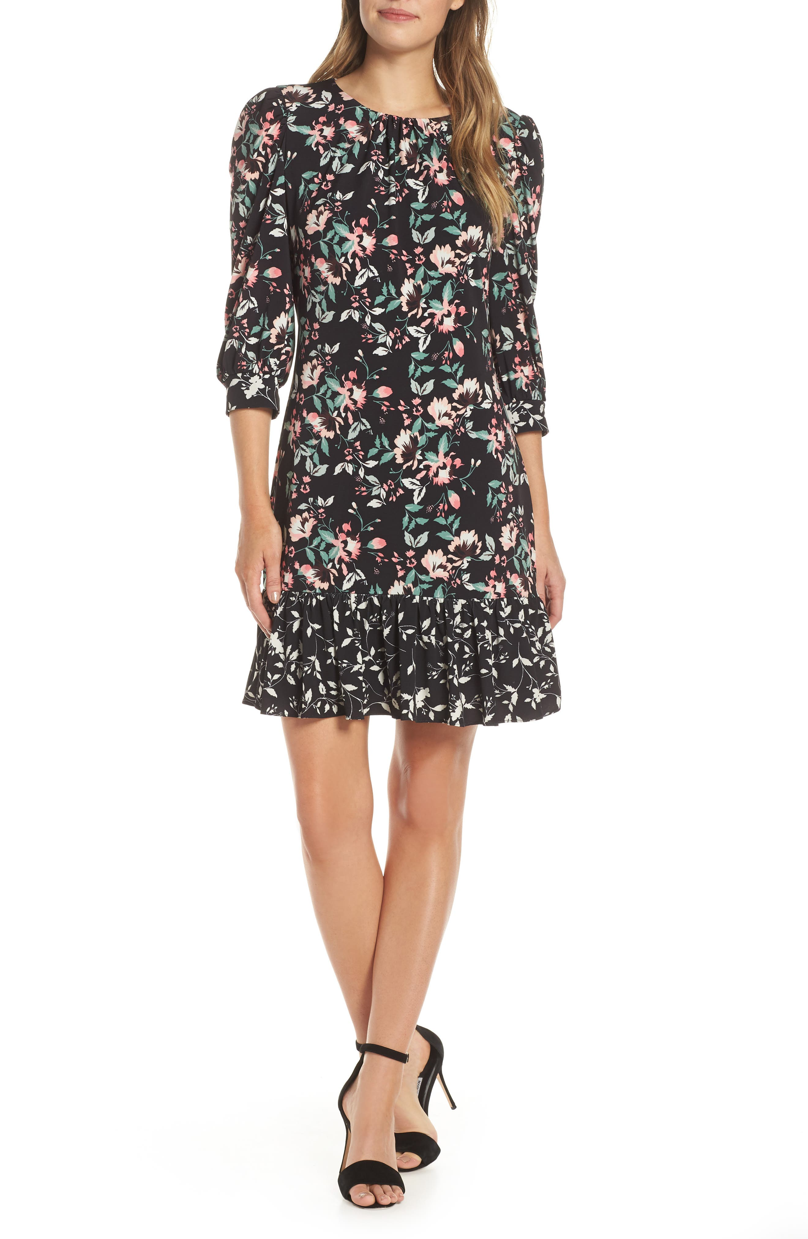 Eliza J Contrast Trim Floral Shift Dress, Black
