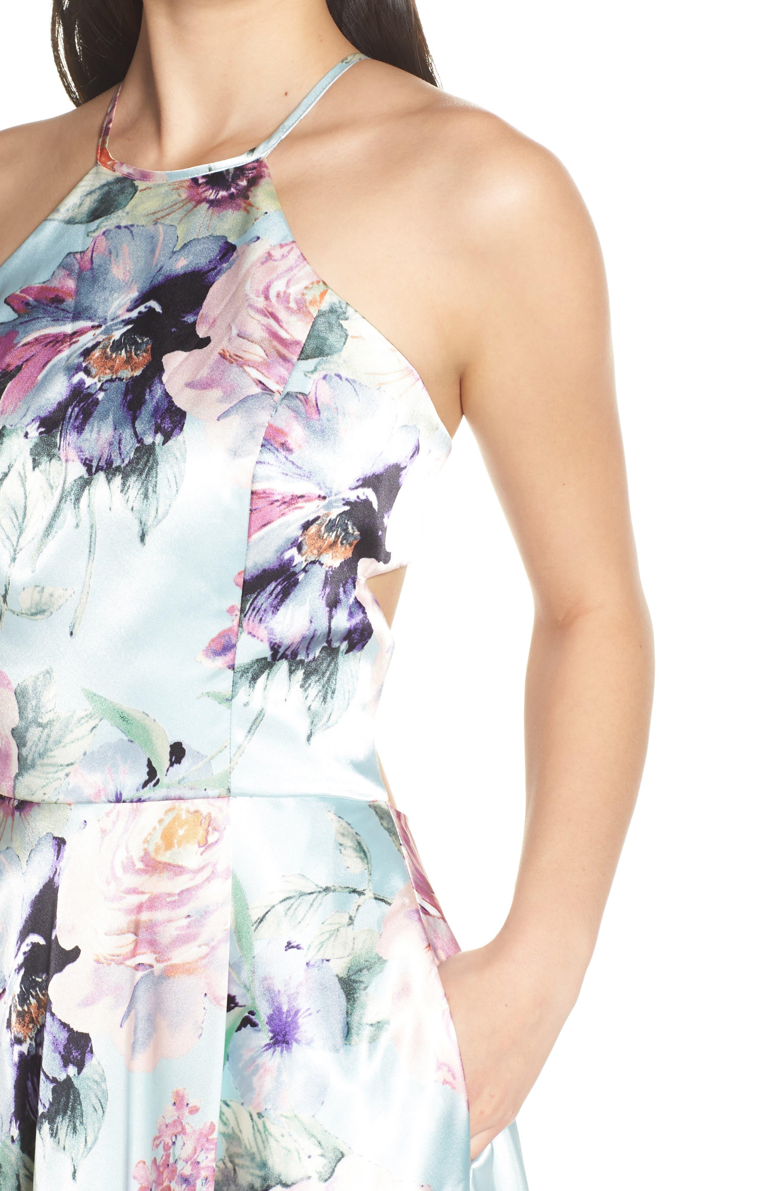 BLONDIE NITES,                             Floral Print Charmeuse Evening Dress,                             Alternate thumbnail 4, color,                             MINT/ MULTI