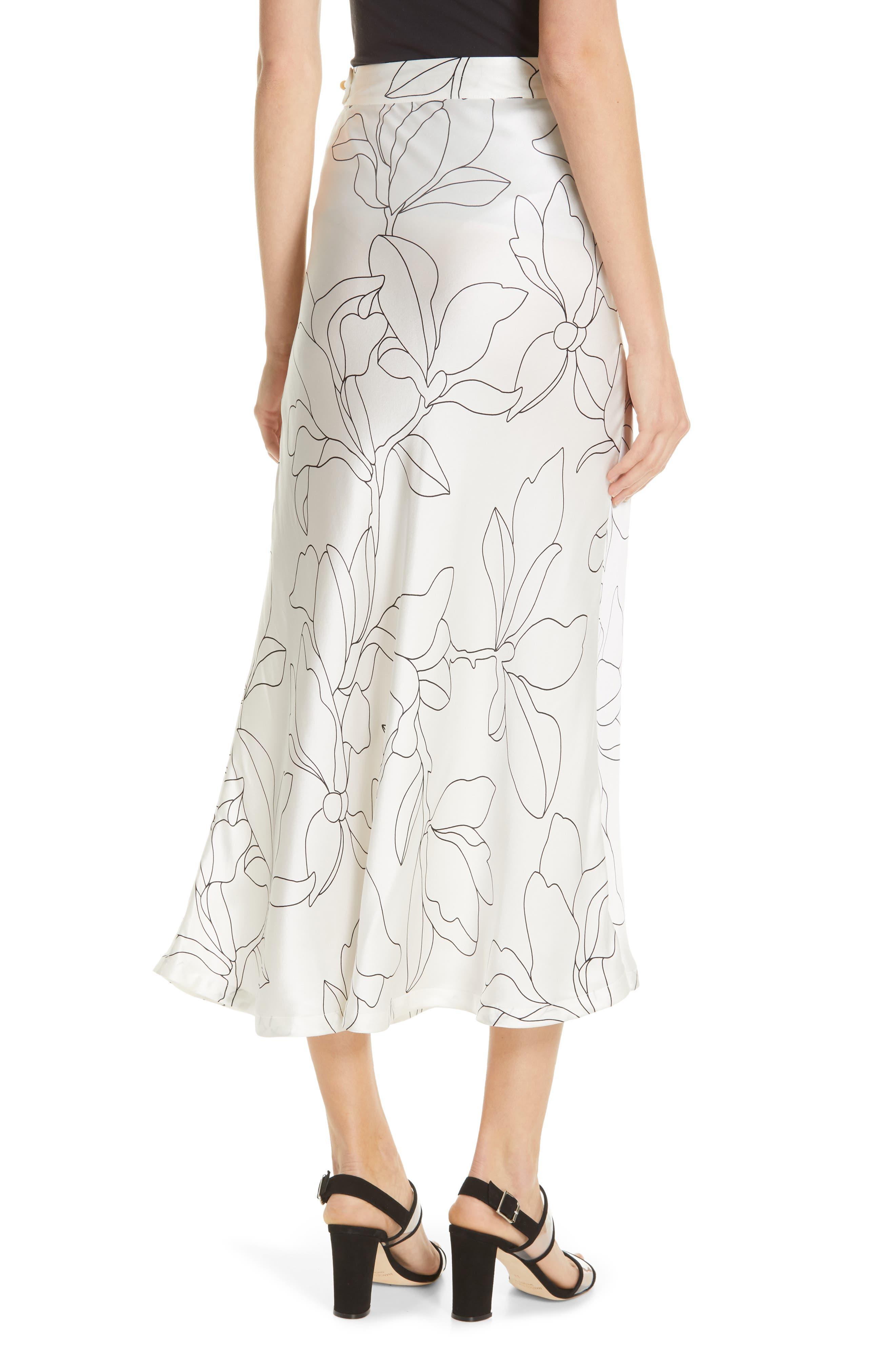 Iva Floral Silk Midi Skirt,                             Alternate thumbnail 2, color,                             NATURAL WHITE TRUE BLACK