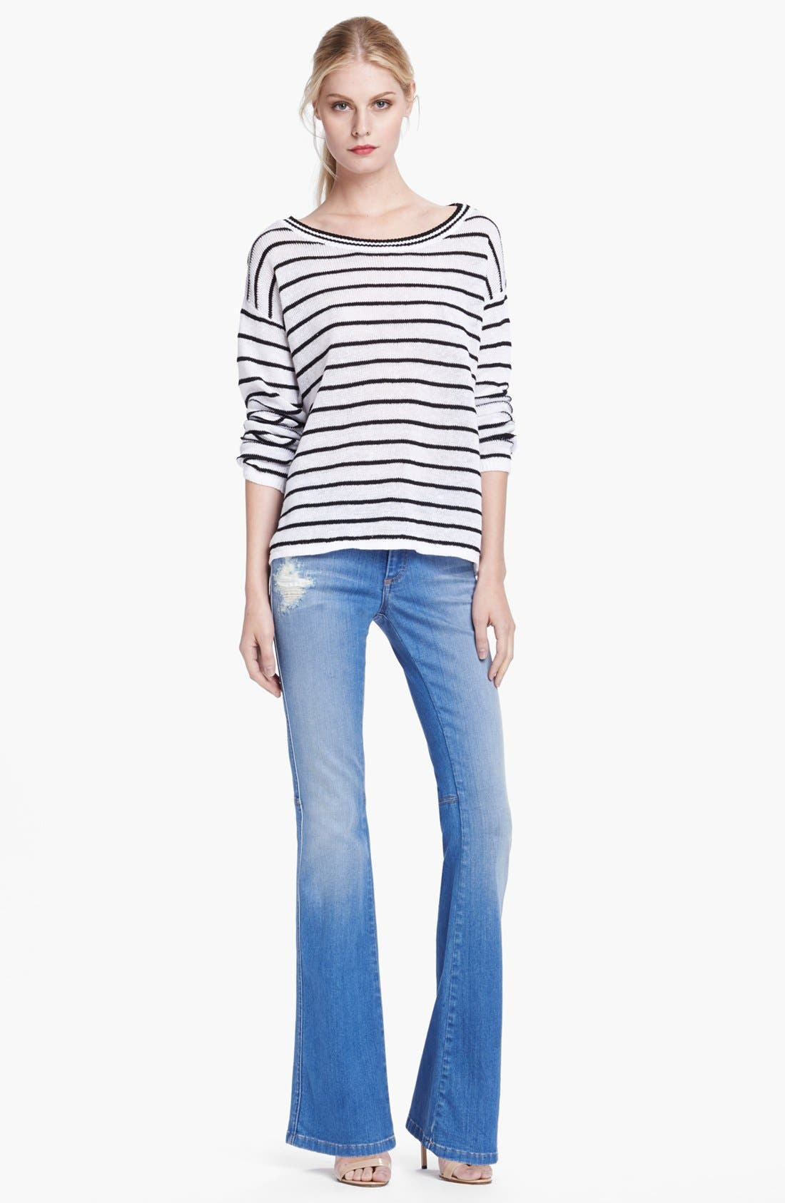 'Stacy' Distressed Bell Bottom Jeans,                             Alternate thumbnail 3, color,                             453