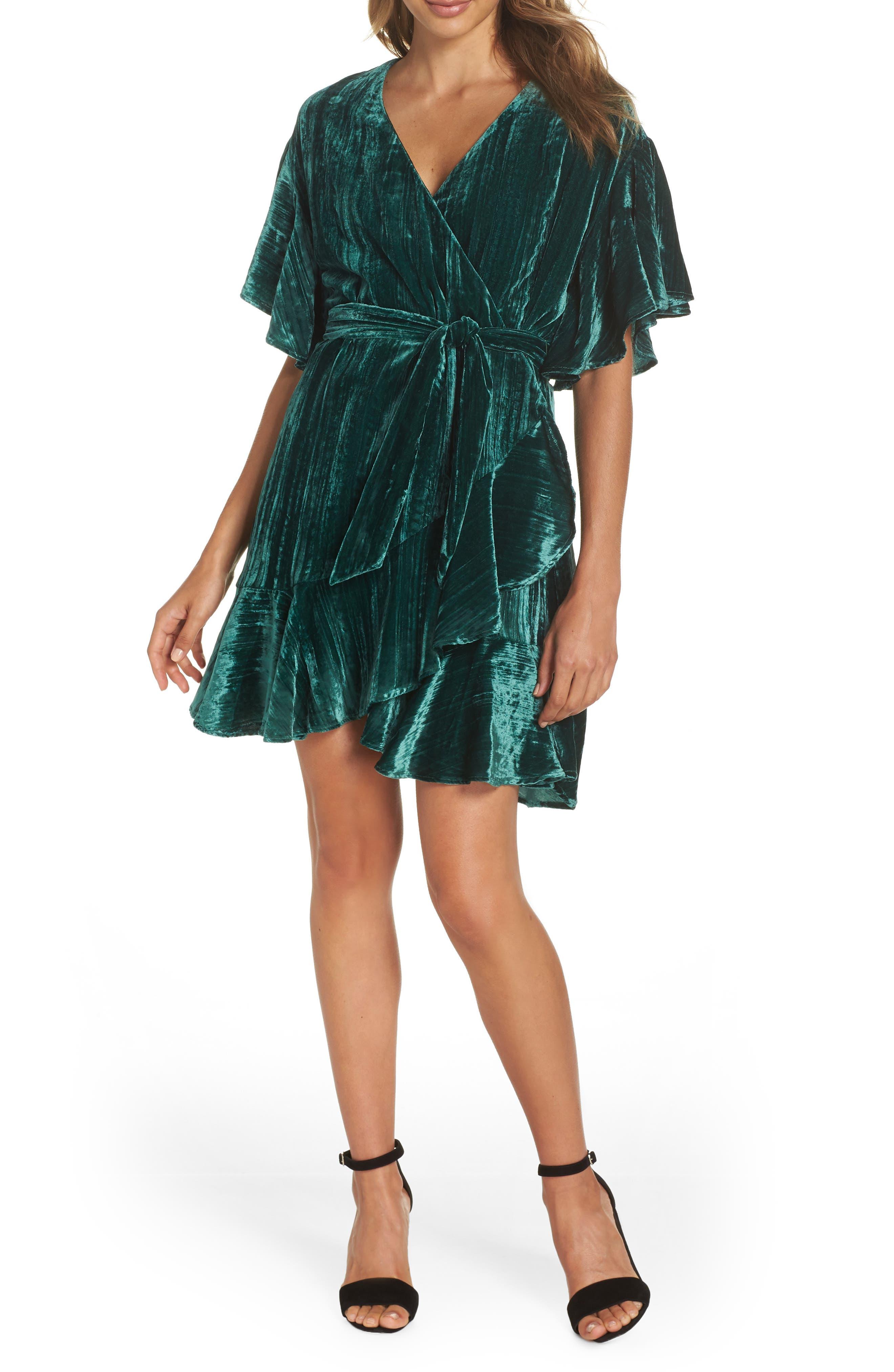 Bb Dakota Night Fever Velvet Wrap Dress, Green