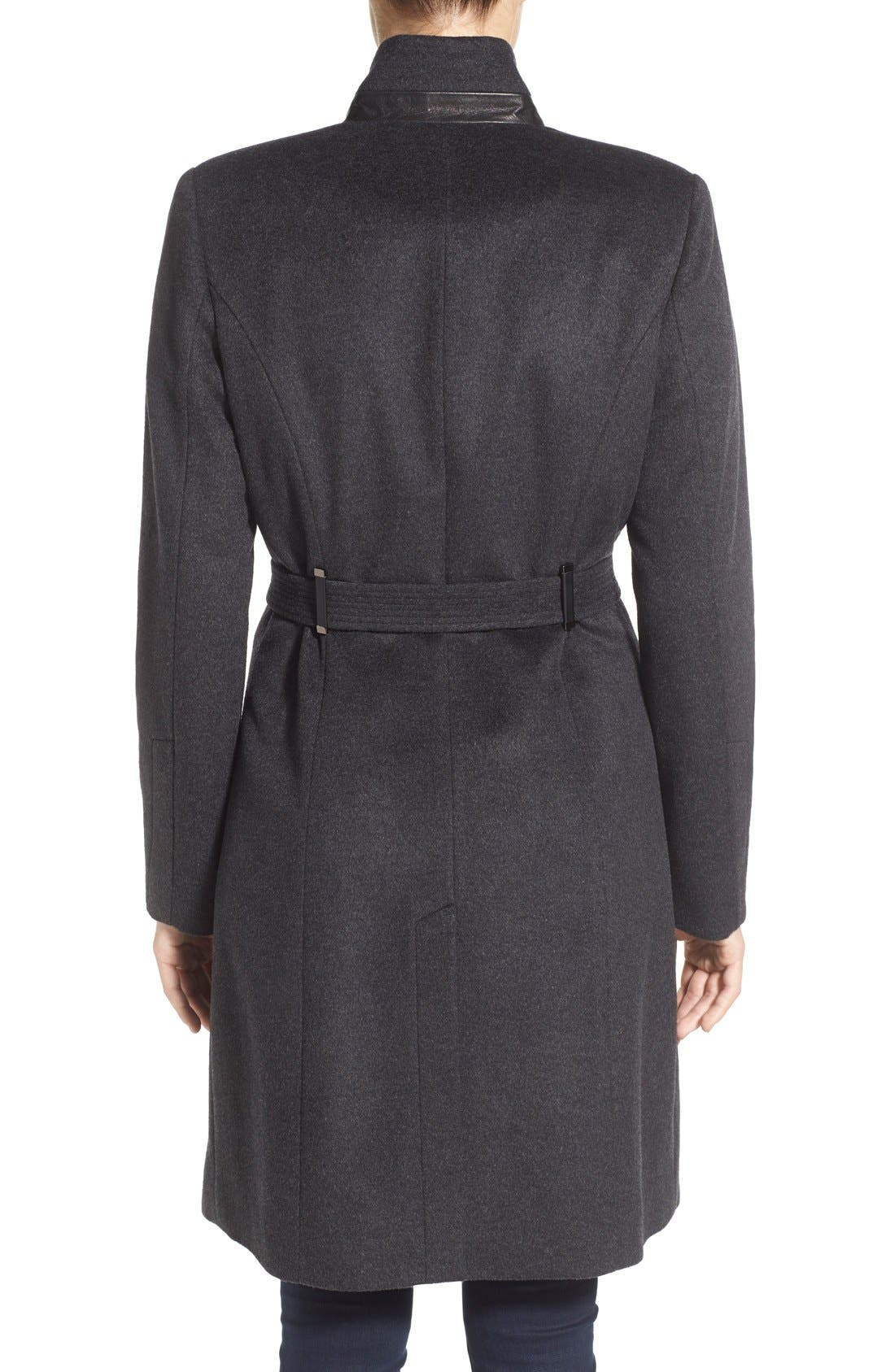 Badgley Mischka 'Ivana' Long Belted Inverted Collar Coat,                             Alternate thumbnail 5, color,                             020