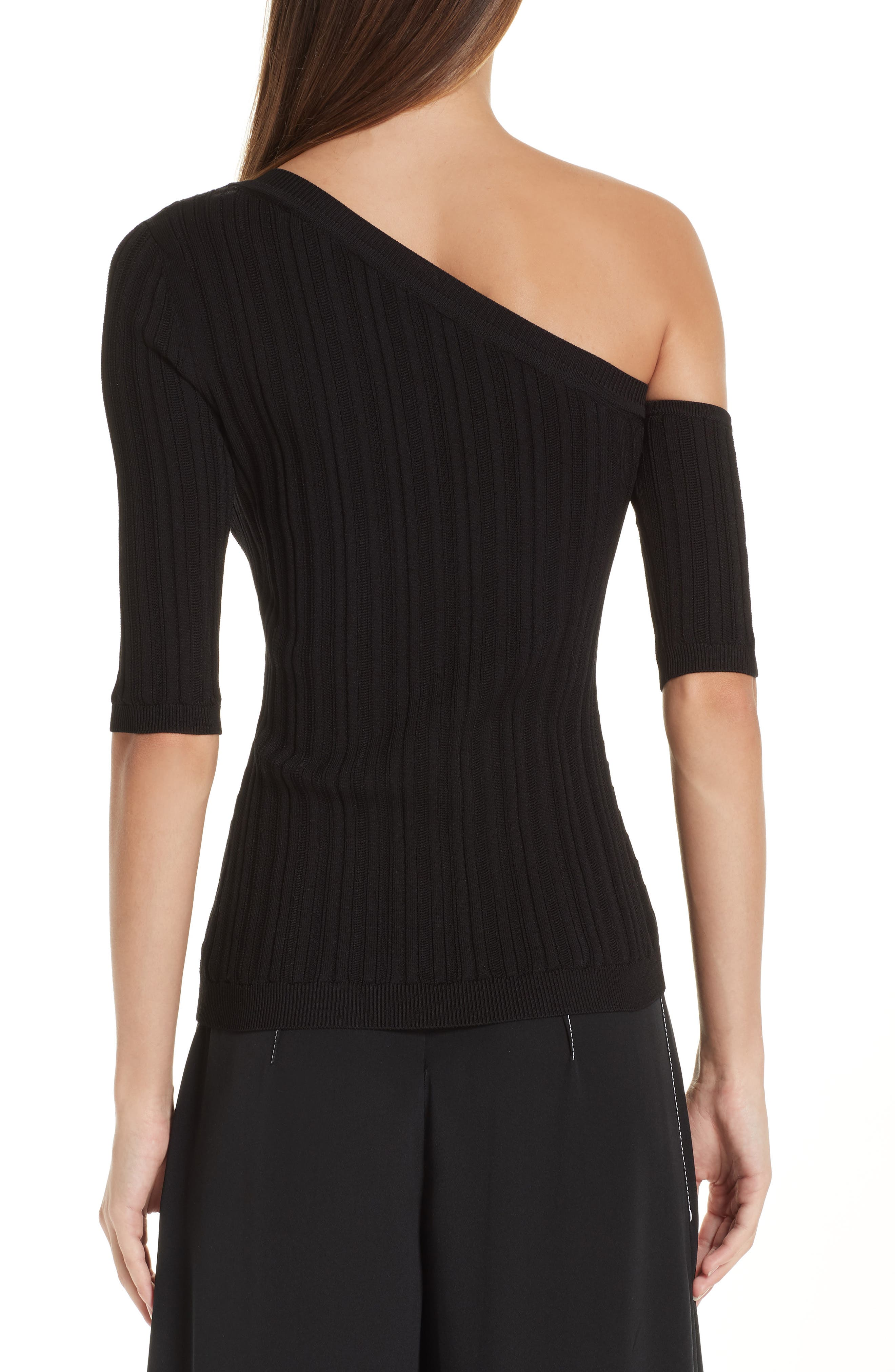 CUSHNIE,                             Cutout One-Shoulder Top,                             Alternate thumbnail 2, color,                             BLACK